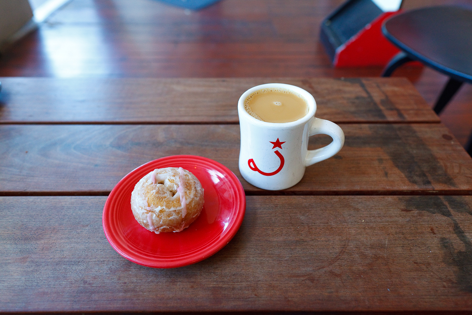 Pour over coffee and a glaze donut from People's Donuts