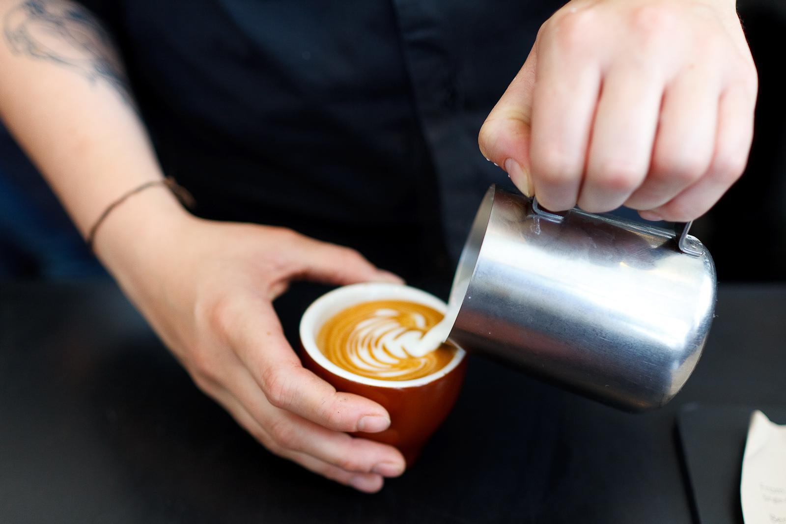 Pouring a cappuccino ($3.25)
