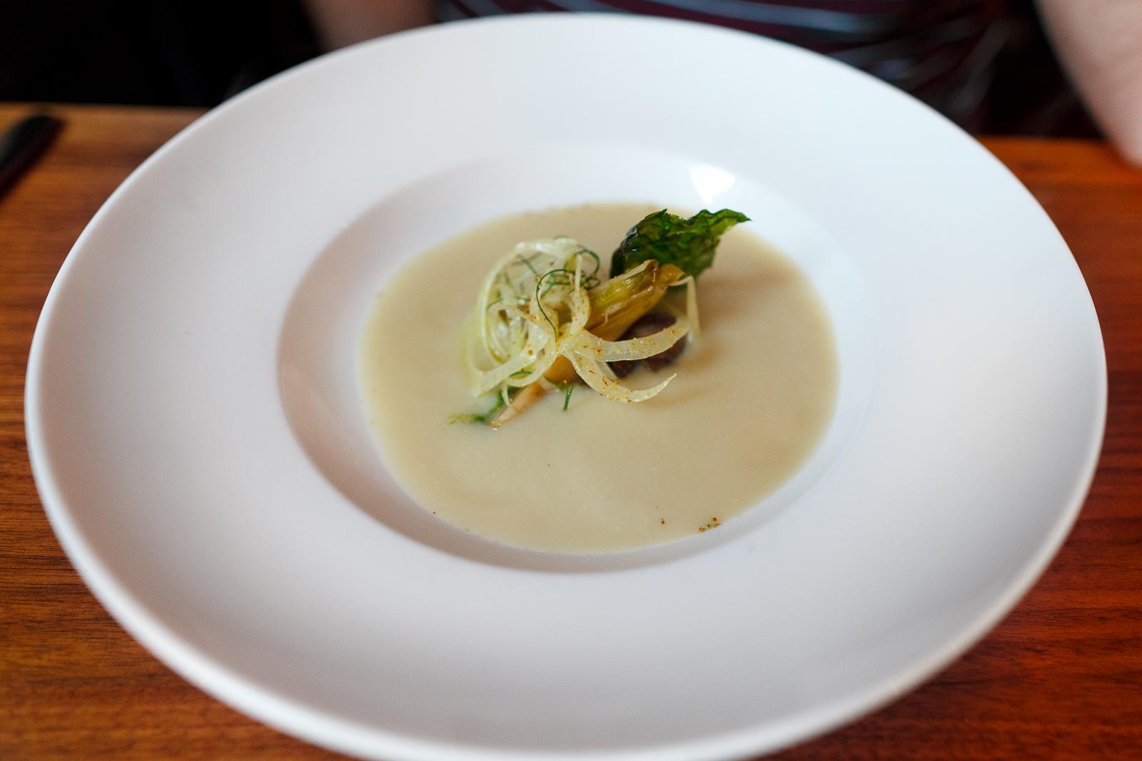 Fennel soup, maitake, fennel pollen, kale
