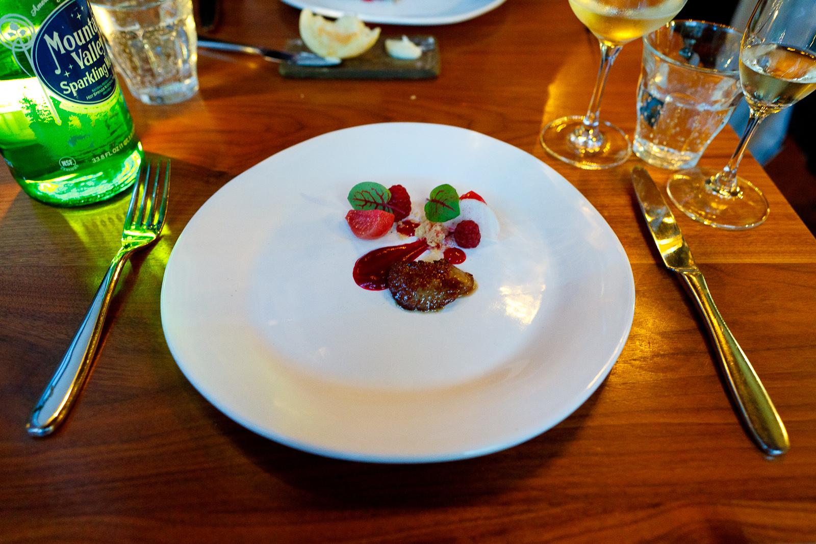Seared foie, raspberry, beet, hearts on fire