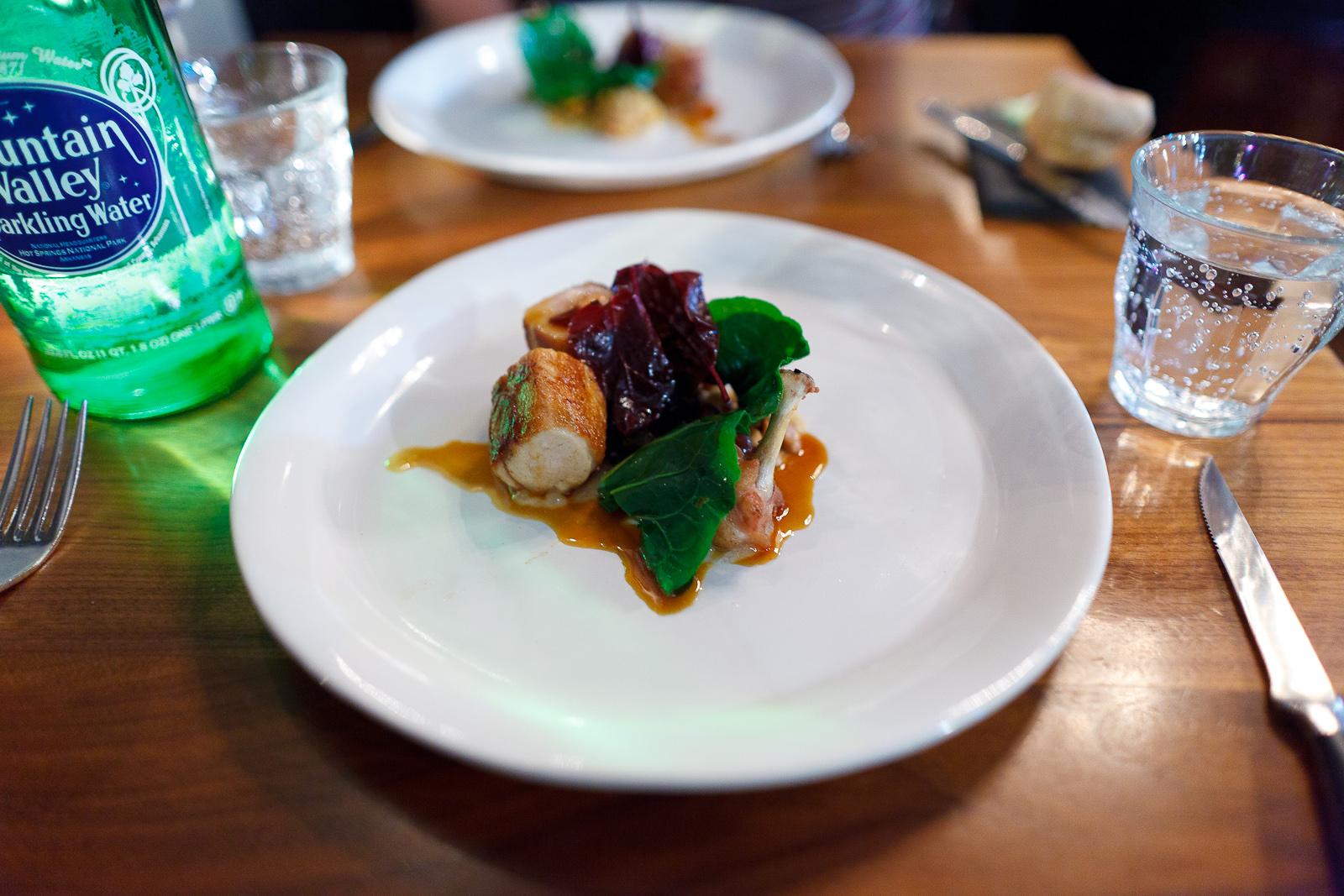 Cornish game hen, foie, red orach, currant, pine nuts