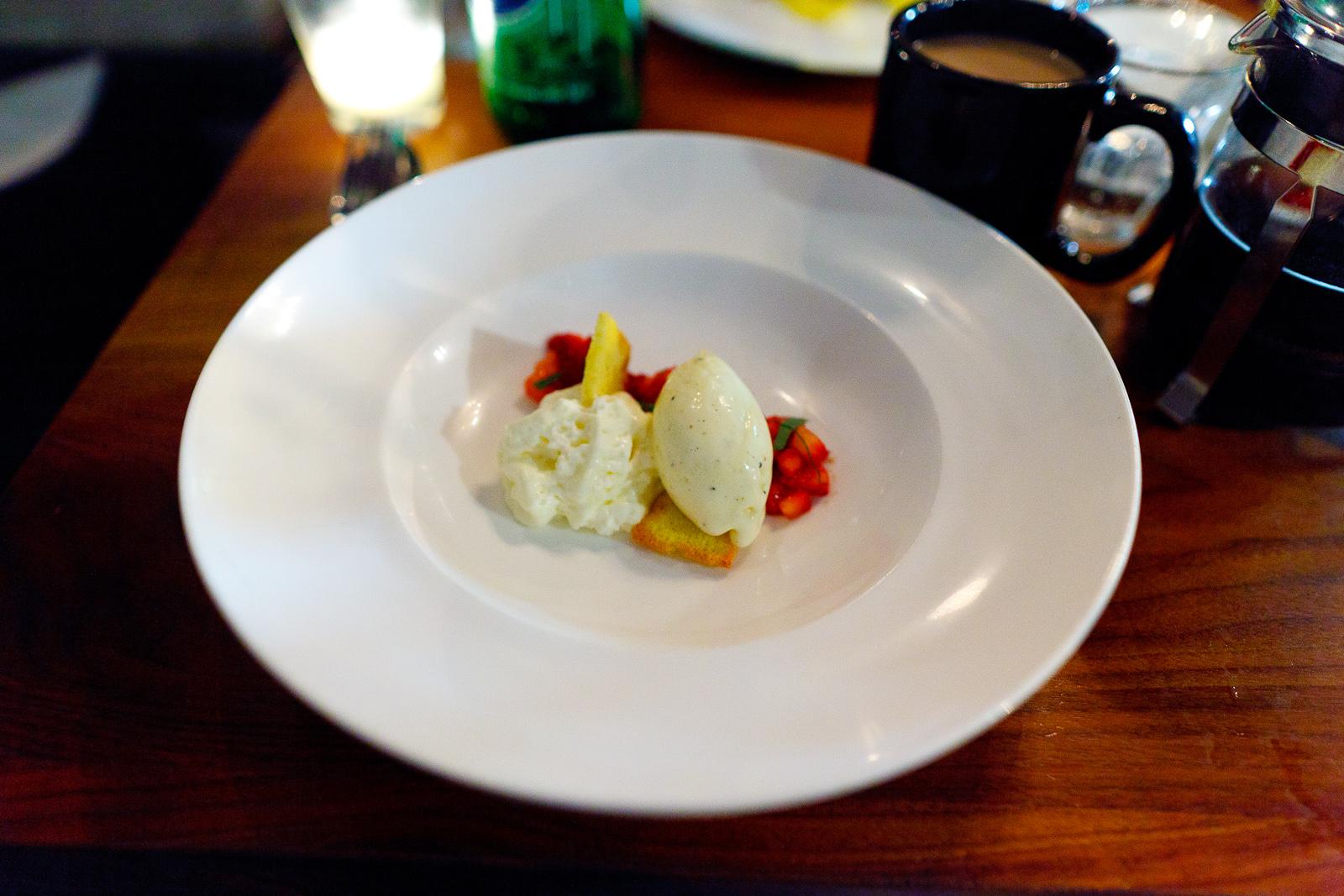 Strawberries, long pepper ice cream, ricotta