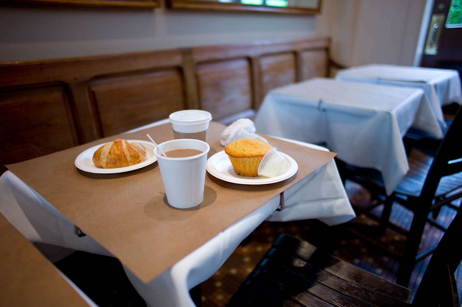 Croissant, Corn Muffin, and Coffee