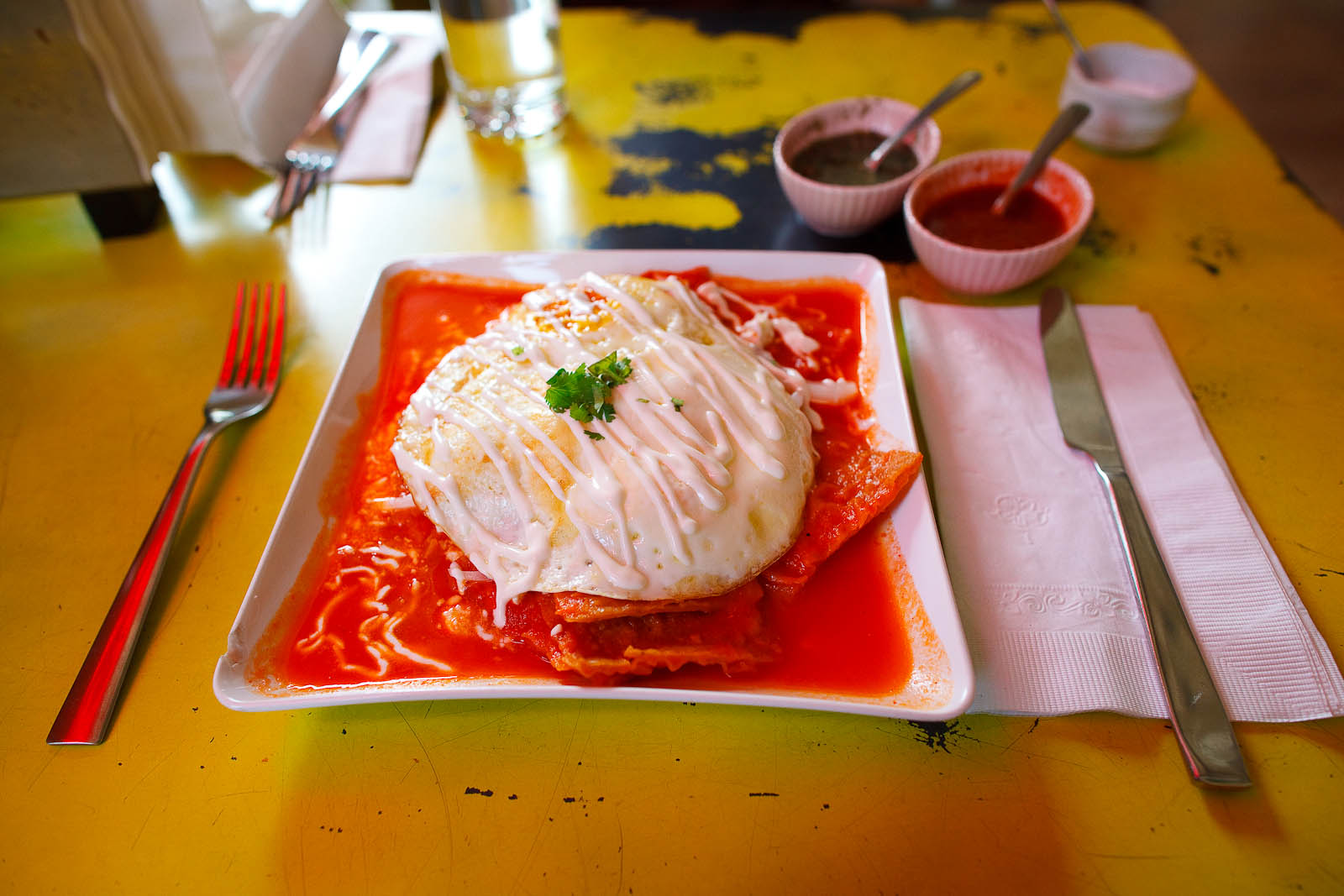 Chilaquiles rojos con huevo (Tortilla, red salsa, egg, fresh cheese, sour cream) ($8)