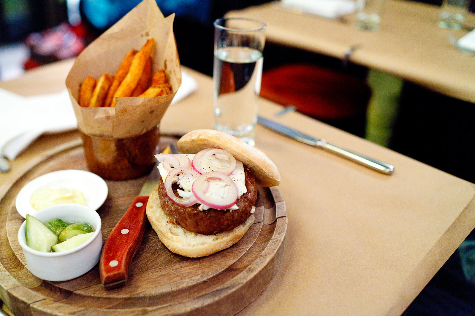 Chargrilled lamb burger with feta, cumin mayo, and thrice cooked chips ($21)