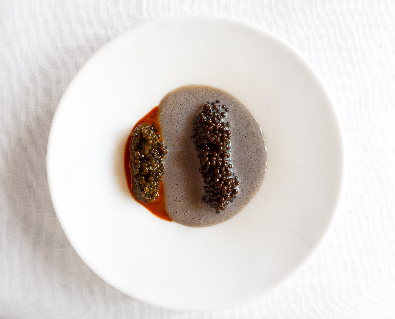 23rd Course: Caviar cream with hazelnut caviar