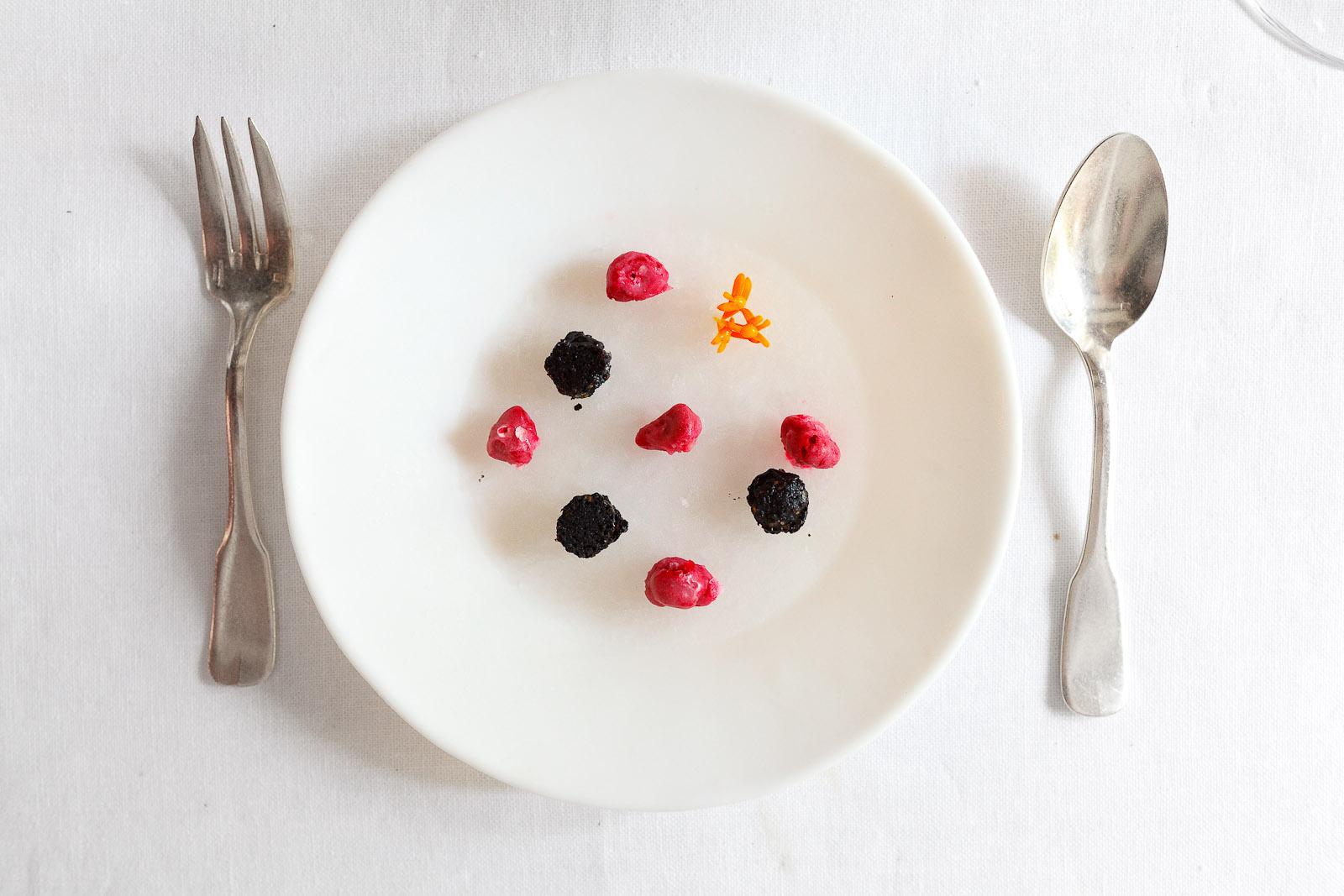 42nd Course: Frozen sake (black sesame, raspberry)