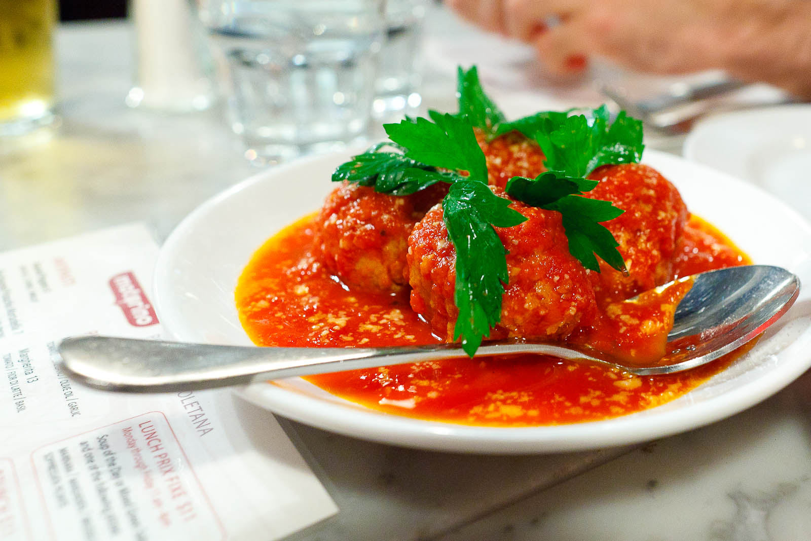 Meatballs Napoletane, tomato, pecorino, parsley ($9)