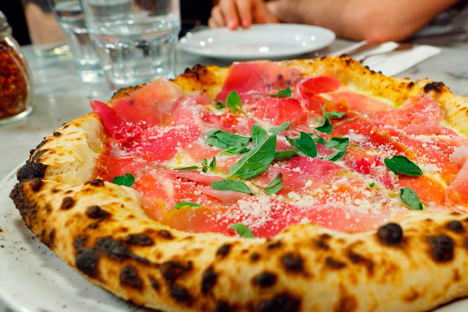 Pizza Prosciutto di Parma - fior di latte, olive oil, oregano, pecorino ($15)