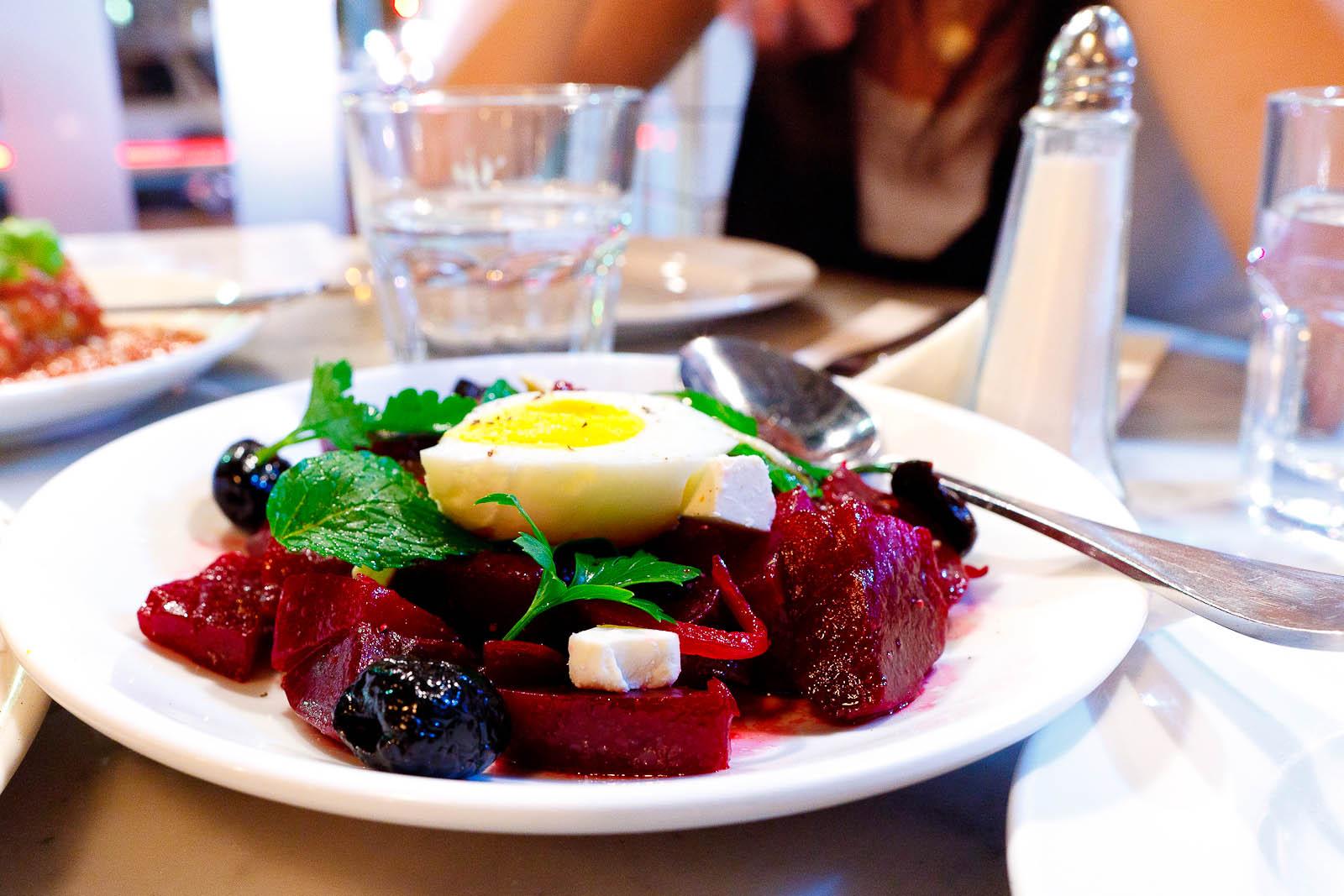 Marinated Beet Salad - soft-boiled egg, ricotta salata, white anchovy, gaeta olives, herbs ($9)