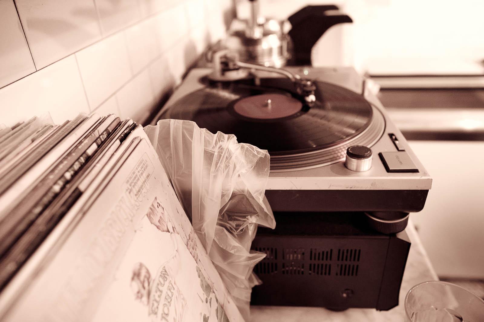 Analog. Technics 1200s with vintage records.