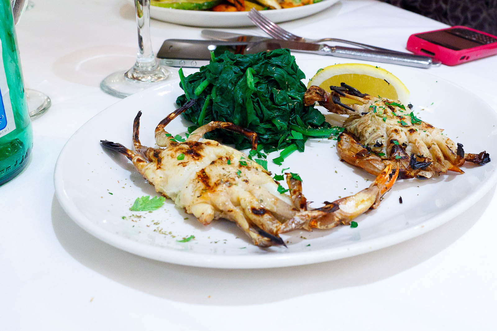 Grilled soft shell crab with steamed spinach