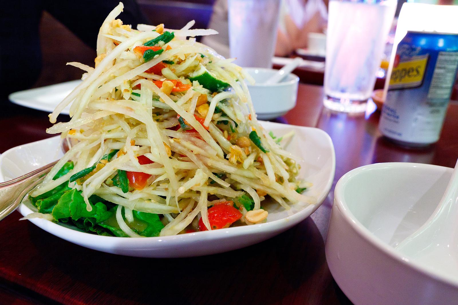 Papaya salad with dried shrimp and peanuts ($7)