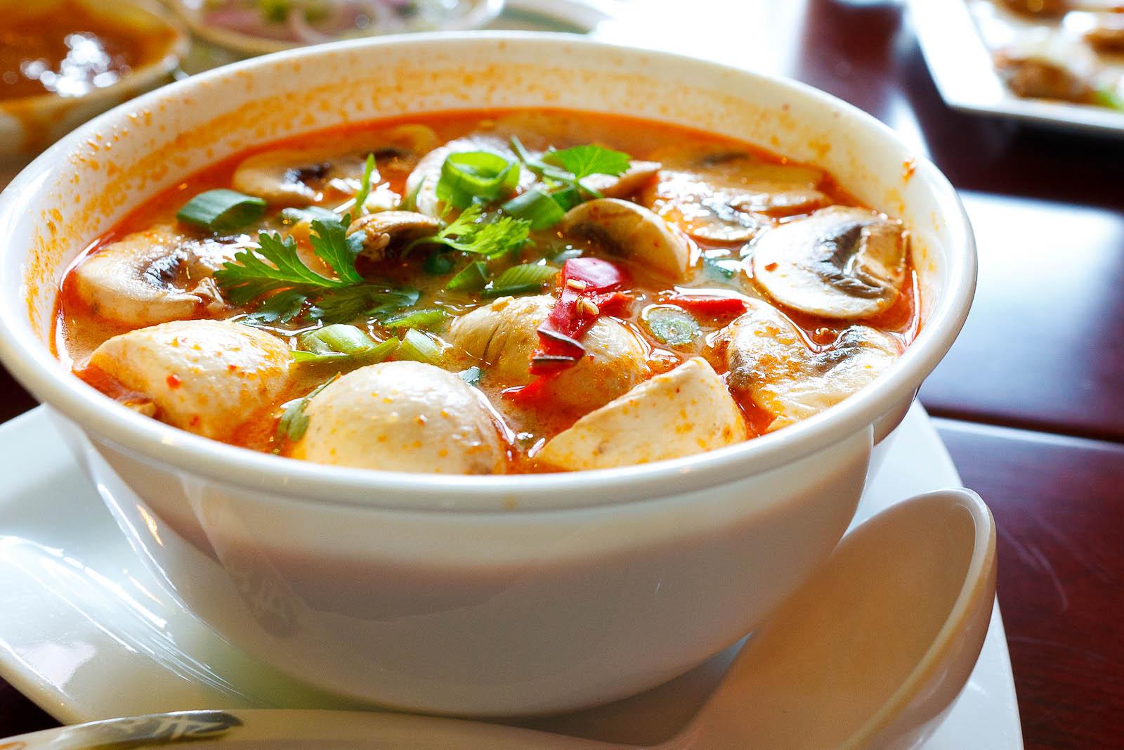 Tom-yum soup with mushroom ($10)