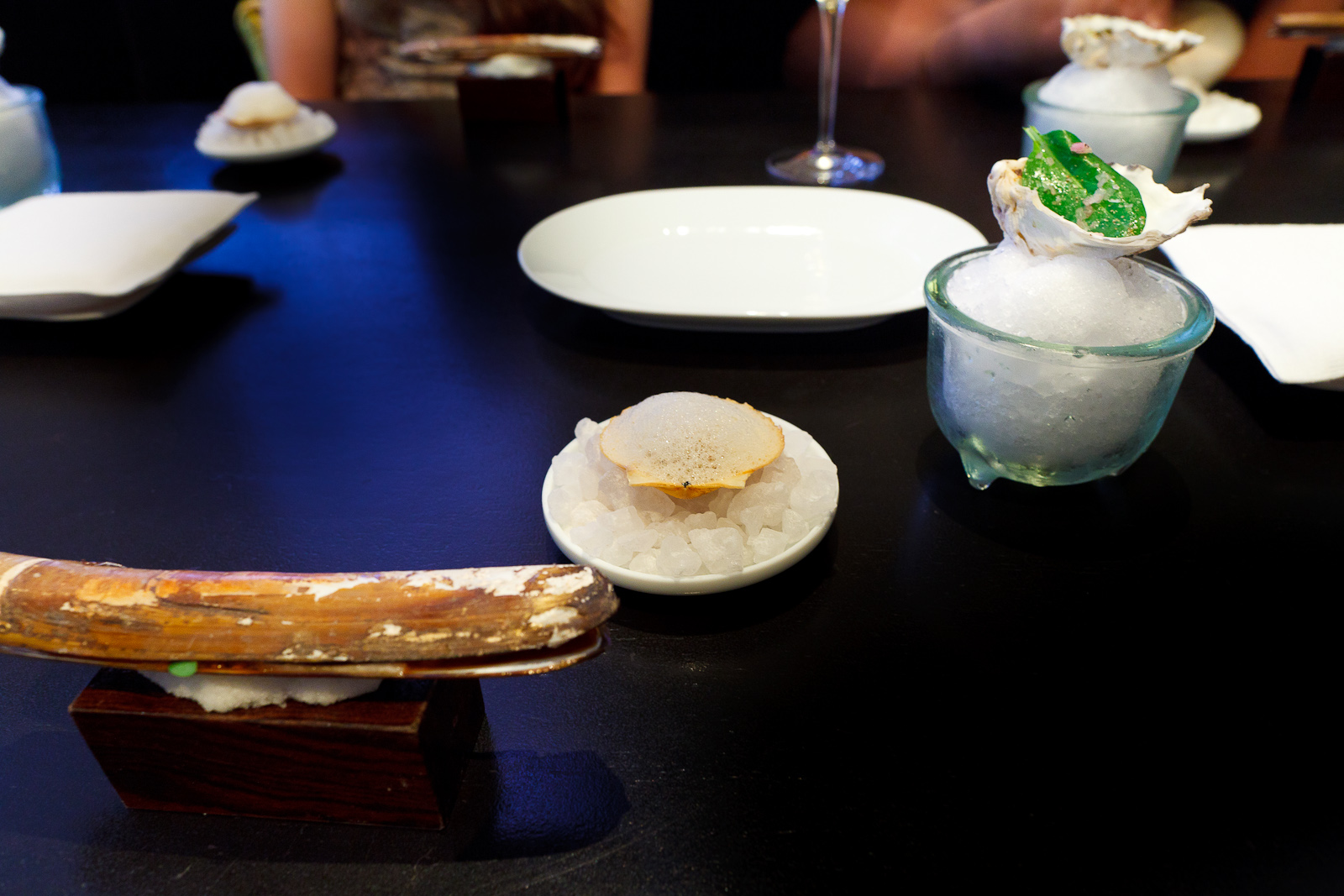 3rd/4th/5th Courses: Oyster leaf mignonette / scallop, hitachino, weizen, old bay / razor clam, carrot, soy, daikon