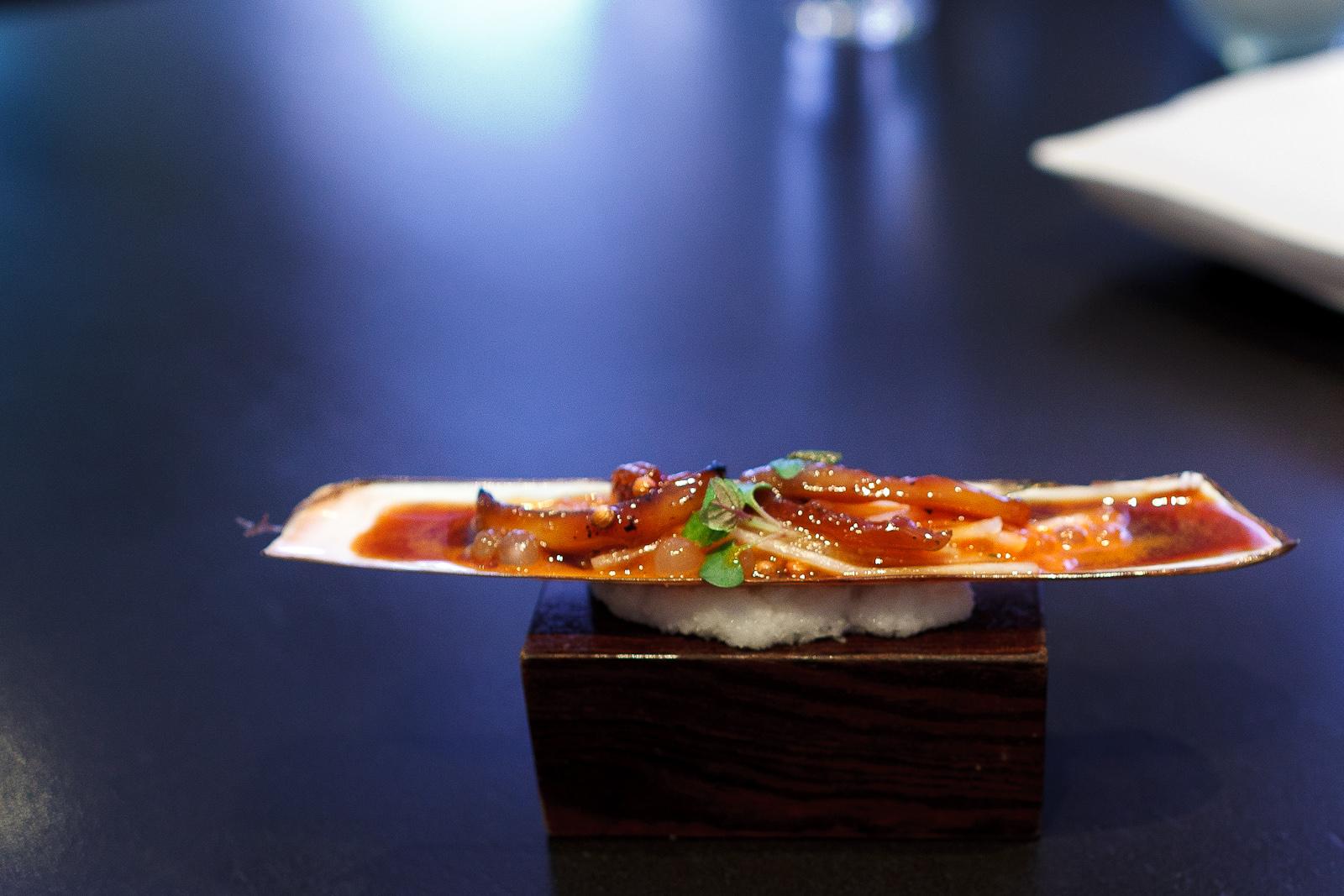5th Course: Razor clam, carrot, soy, daikon