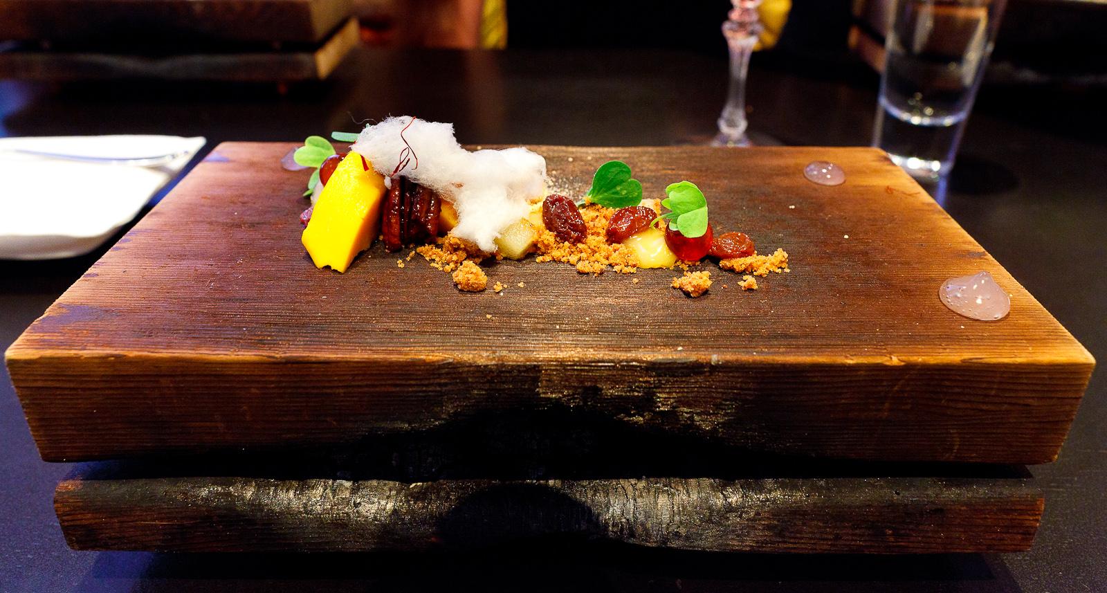16th Course: Sweet potato, cedar, bourbon, pecan
