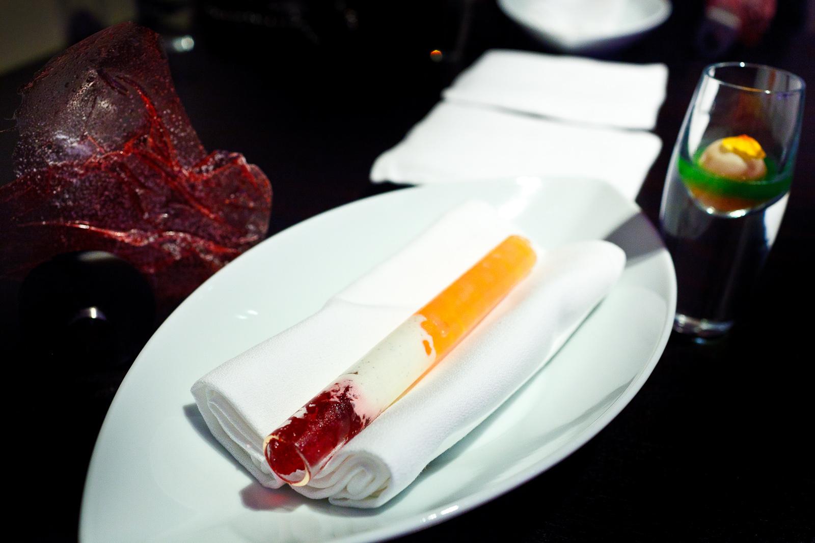 16th Course: Bubble gum, long pepper, hibiscus, crème fraiche