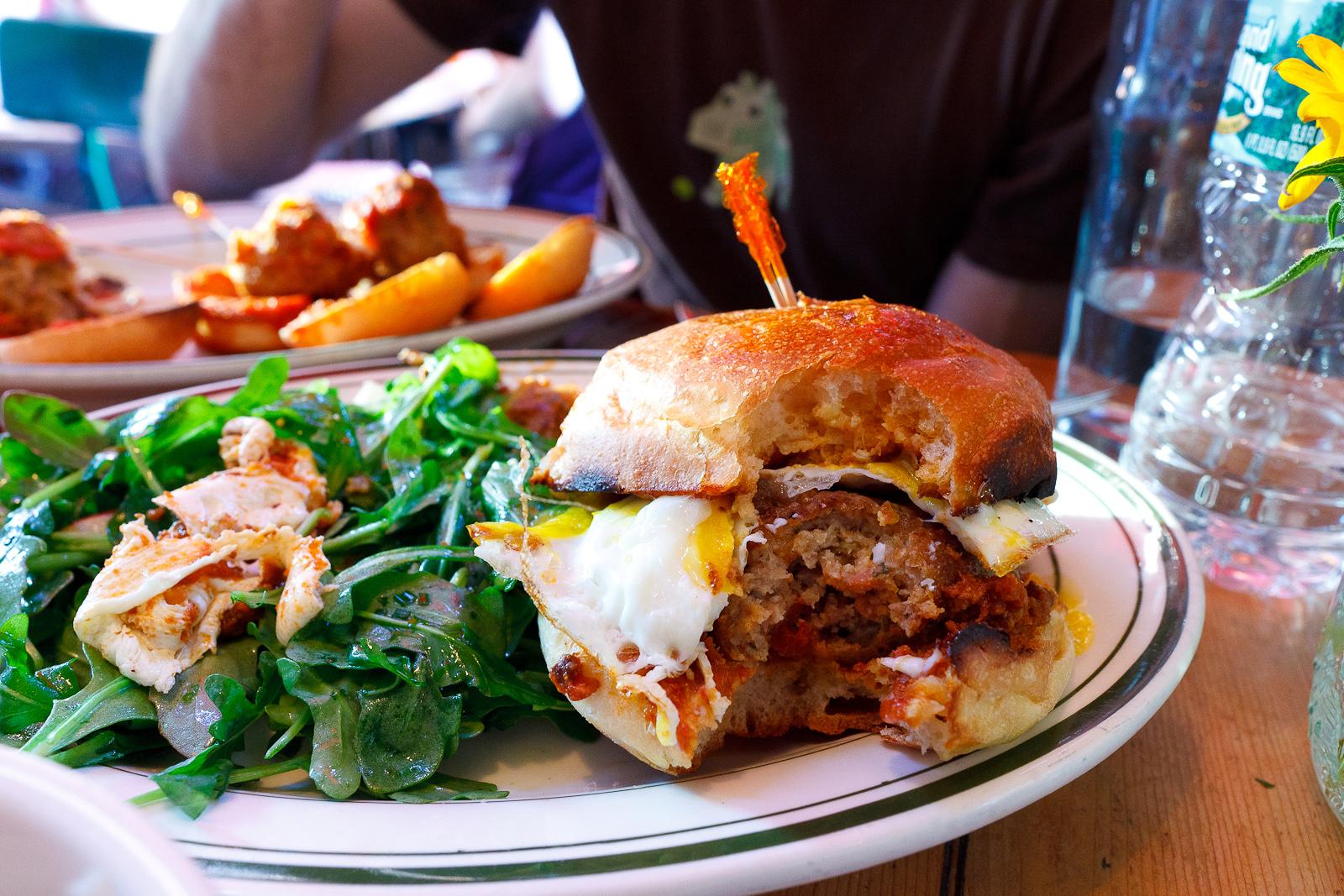 "Meatball smash, chicken, classic tomato, mozzarella cheese, with ""family jewels"" ($8)"