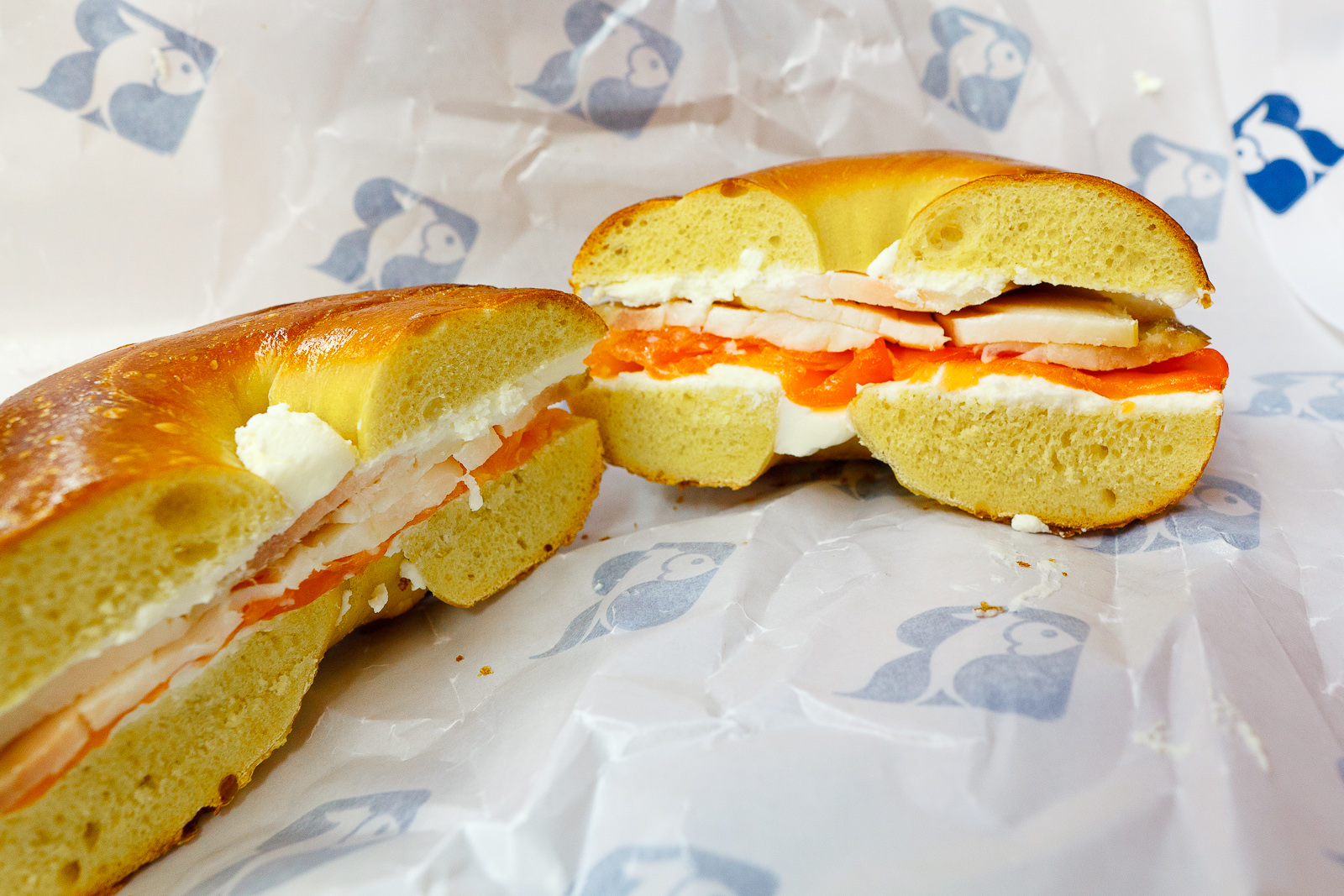 Generational, smoked salmon and sturgeon with cream cheese on an egg bagel ($16.95)