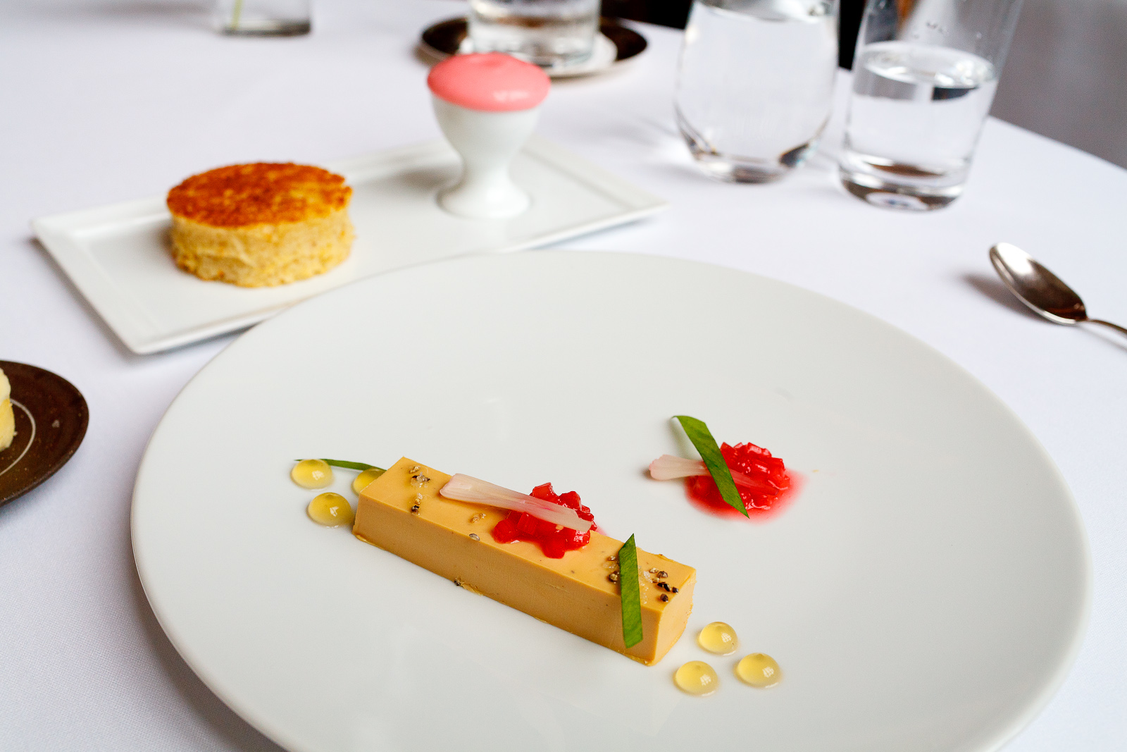 1st Course: Foie gras, rhubarb, tarragon, rhubarb foam, crustless black pepper brioche