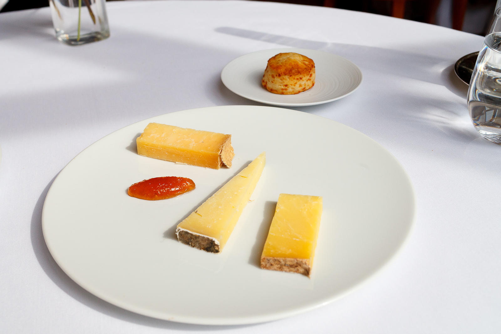 4th Course: Cheddar, clouthbound cabot, bandaged cheddar, Montgomery cheddar with a cheddar biscuit
