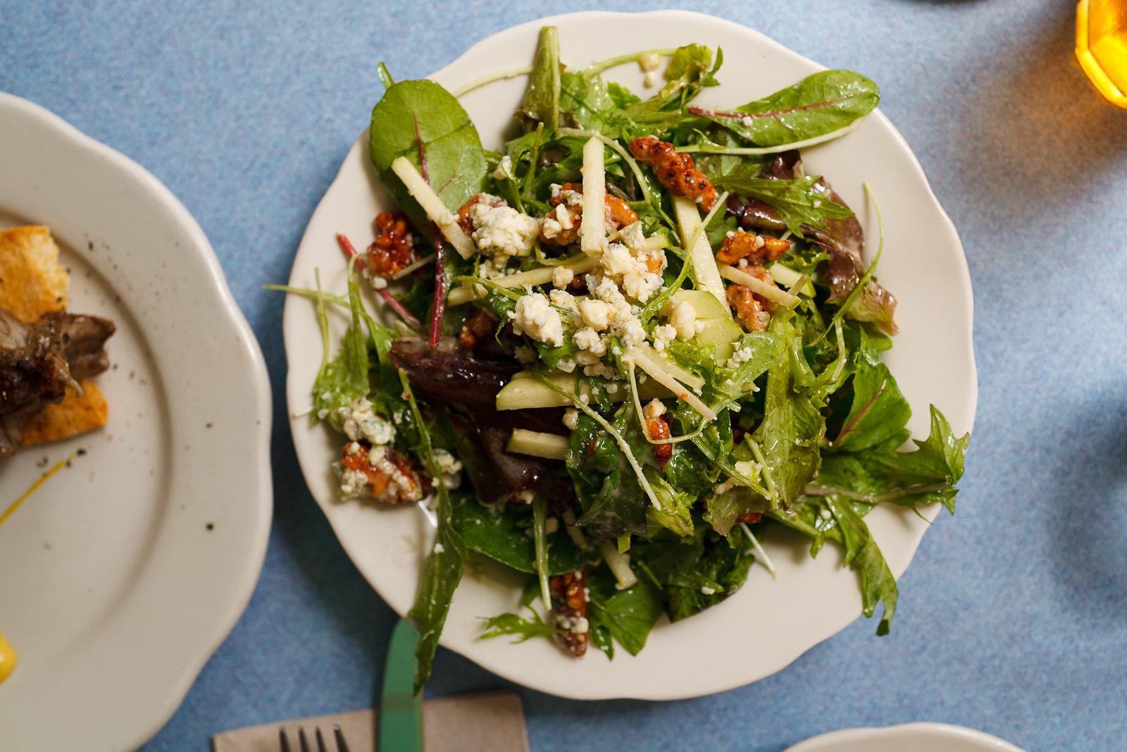 Blue Cheese Salad, Beauty Greens, Apples, Walnuts ($9)