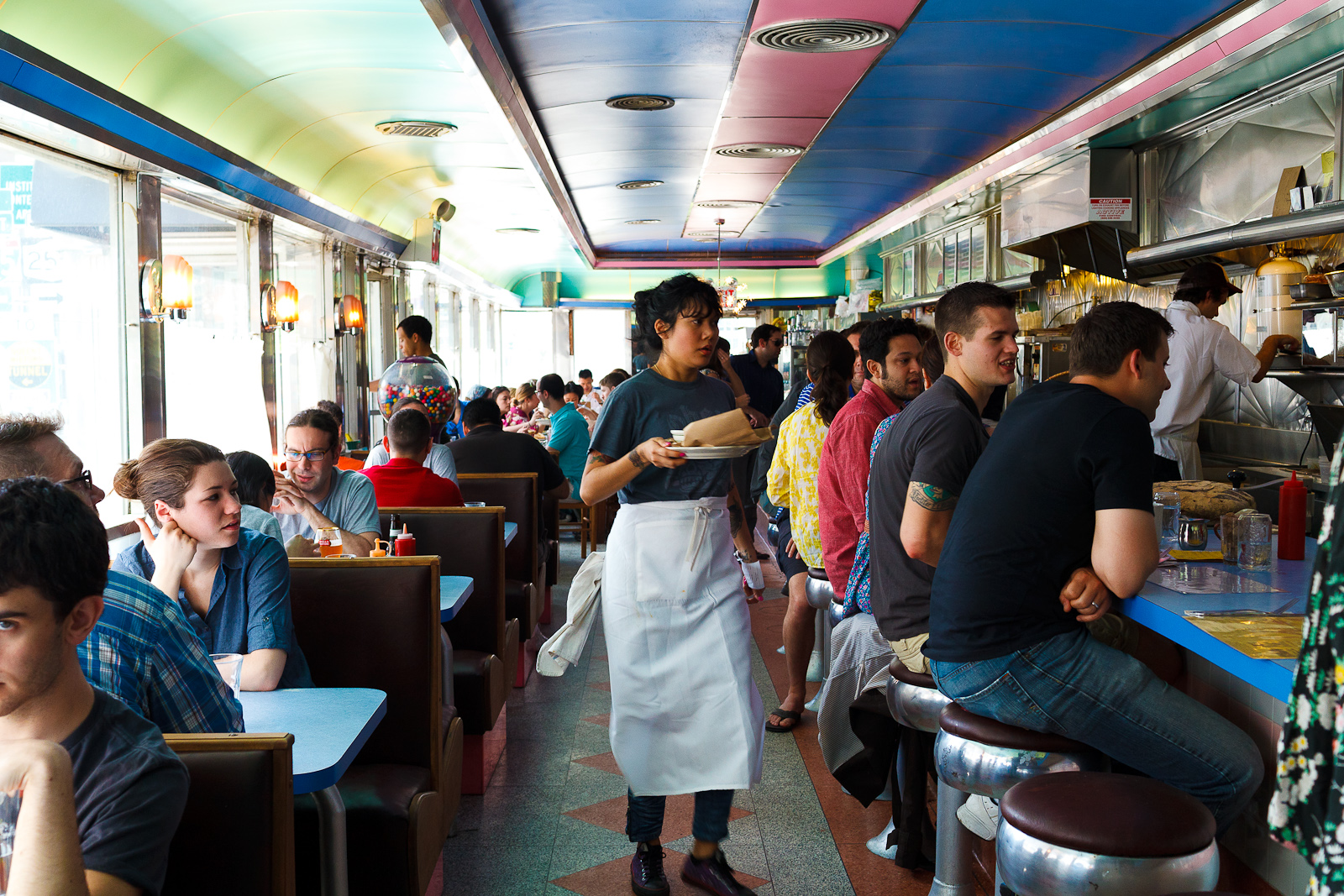 Interior of diner on a Sunday afternoon