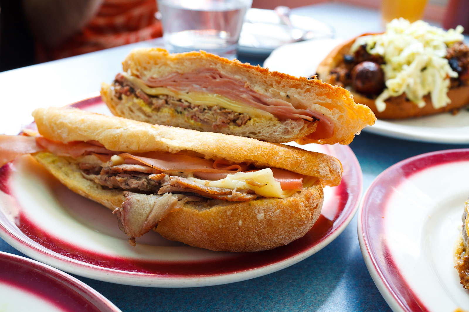 Cubano Sandwich, Roasted Pork, Pickles, Mortadella, Gruyere ($7)
