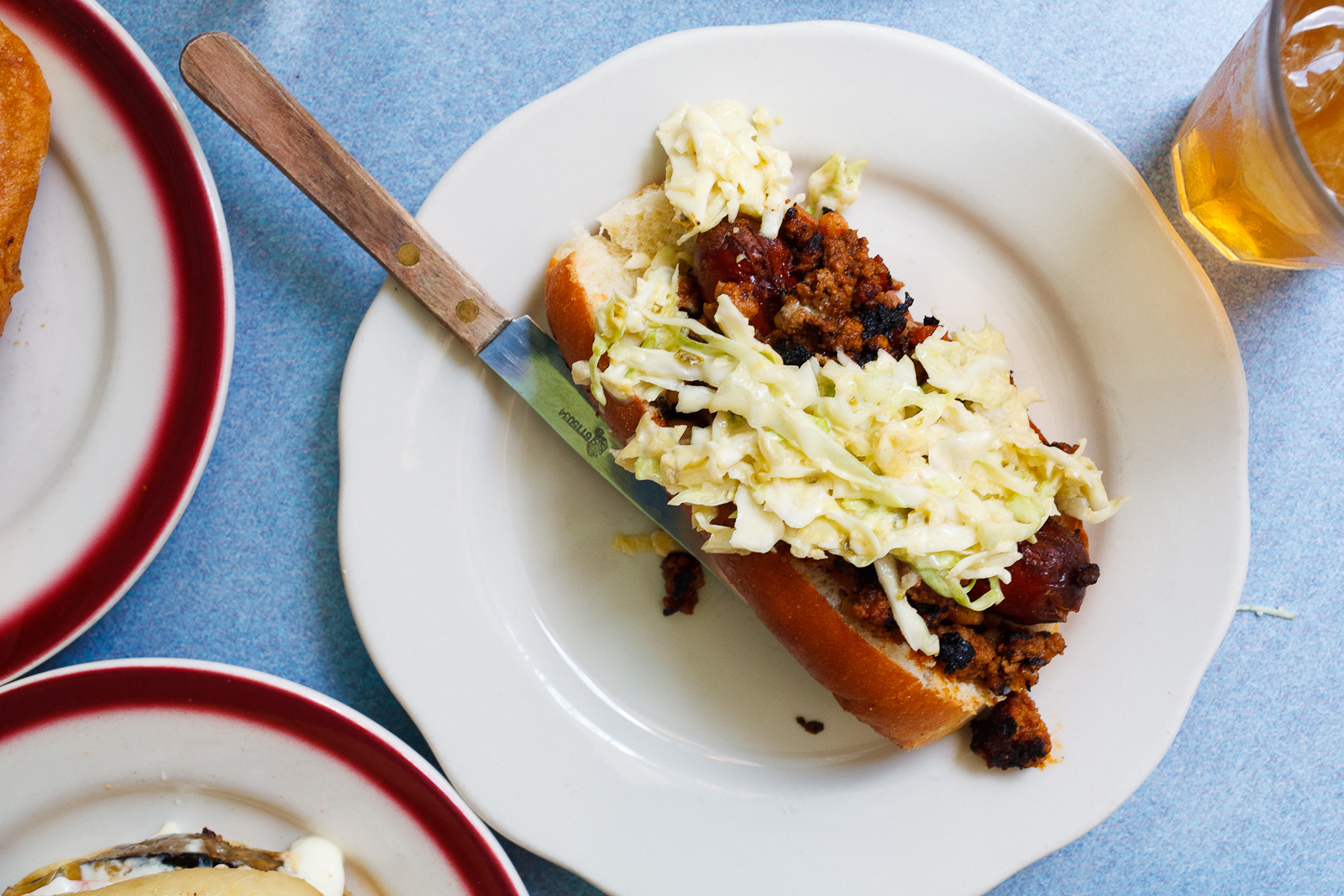 Hot Dog, Sweet Bacon Chili, Coleslaw ($6)