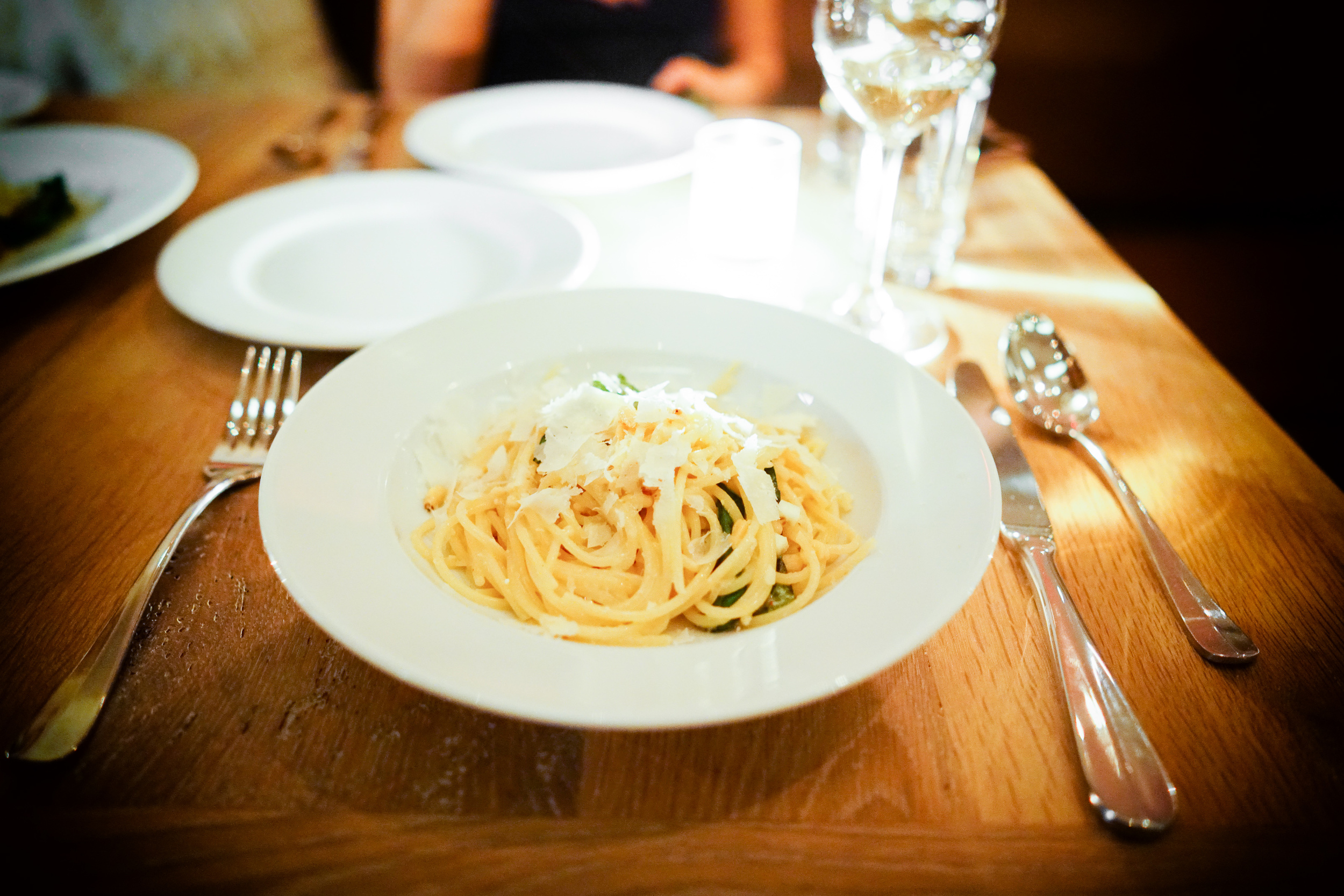 Spaghetti al limone with pinenuts and basil ($19)