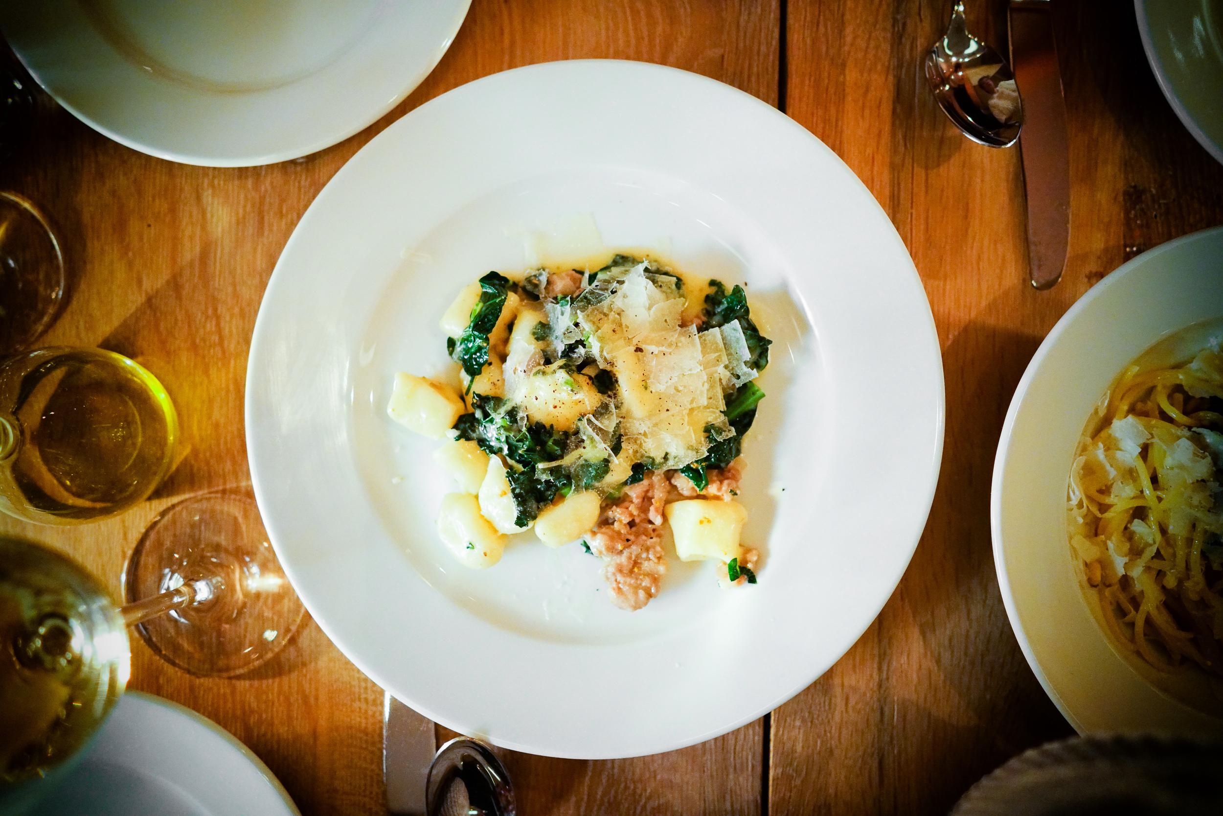 Mezzaluna di ricotta with asparagus and nettles ($22)