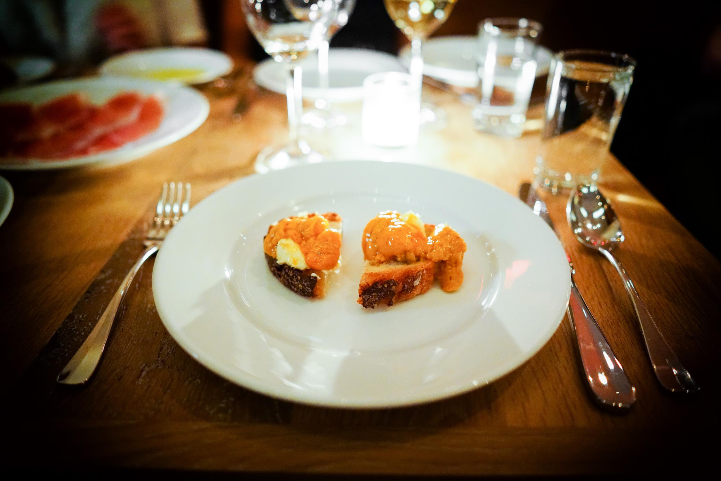 Sea urchin and butter crostini ($19)