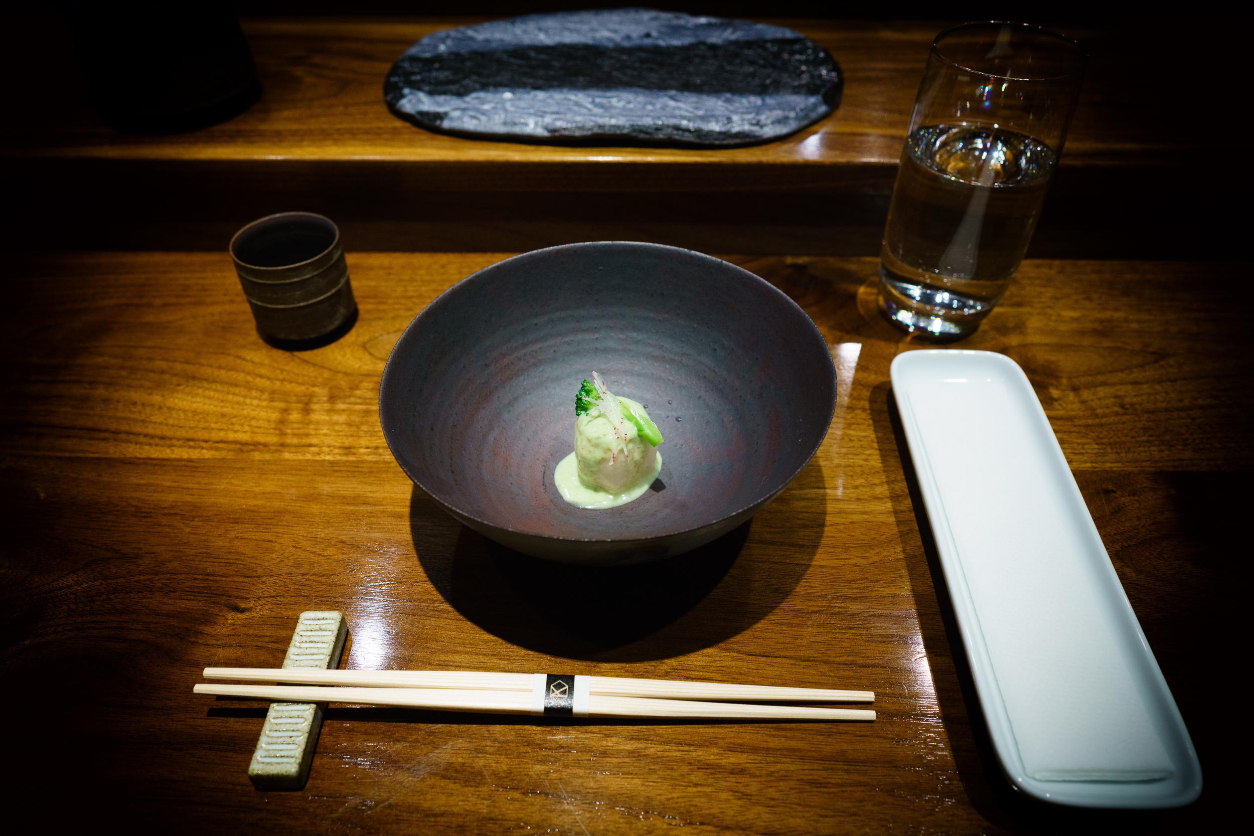 Taro with edamame sauce