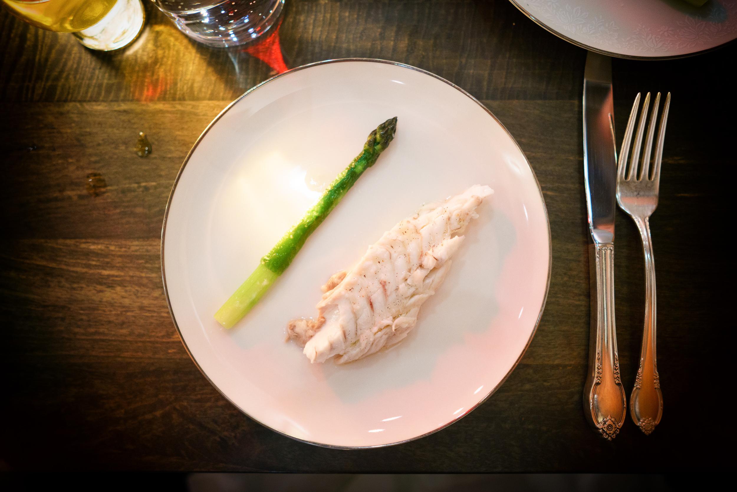 Striped bass, vanilla-Szechuan and aspargus