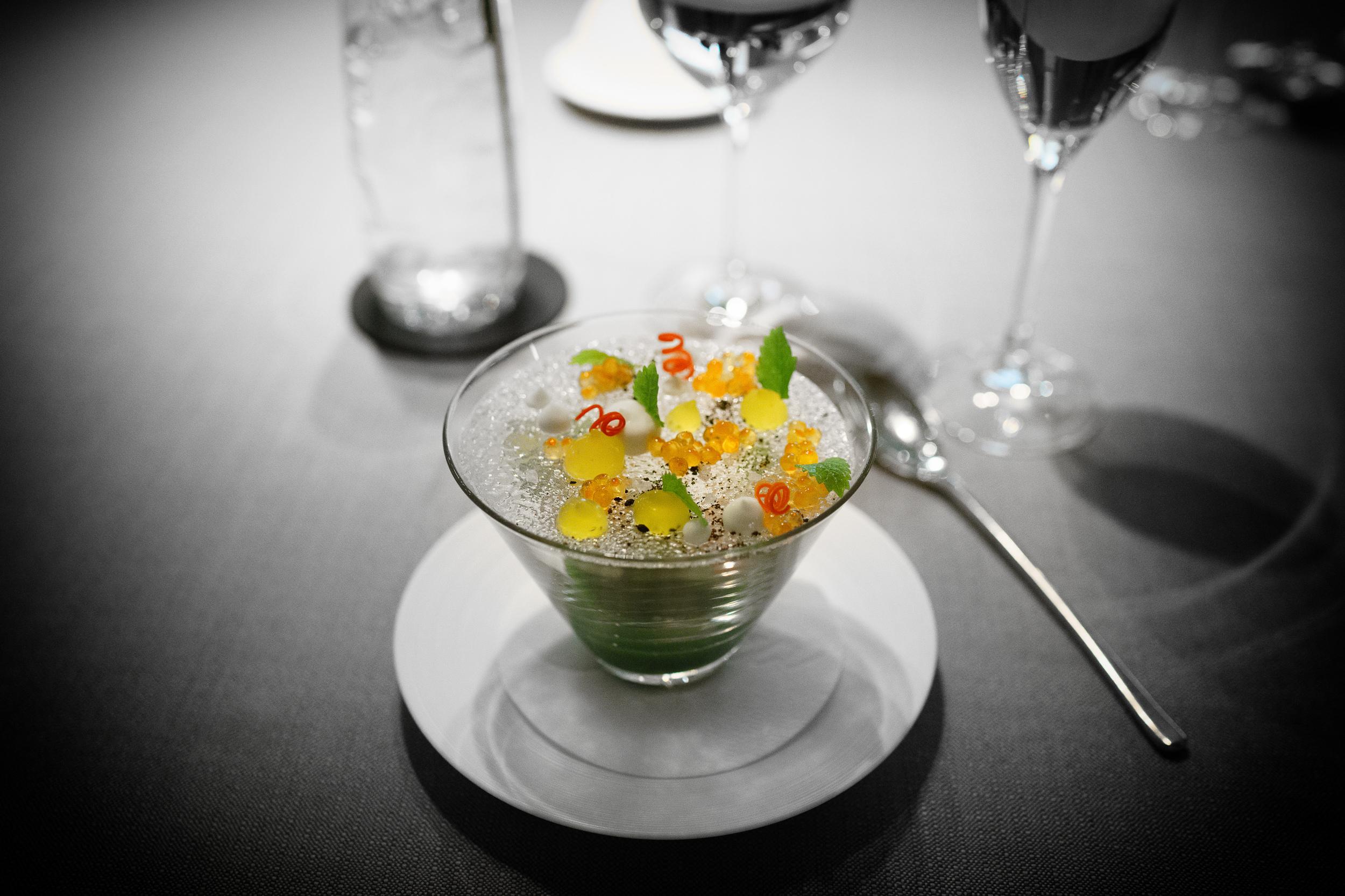 Alaskan King Crab, sudachi, cucumber, lemon mint
