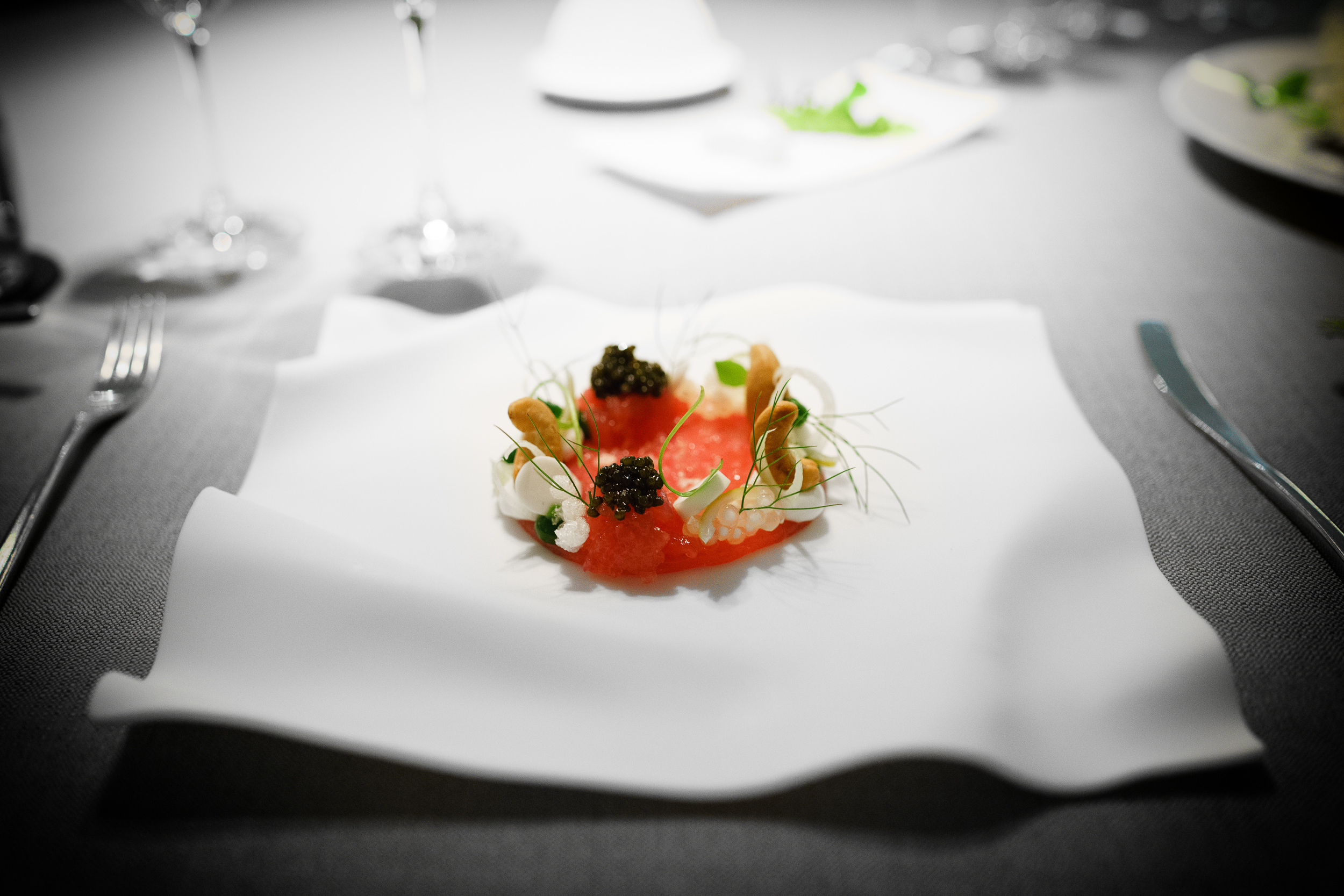 Big eye tuna, caviar, coconut, miner's lettuce