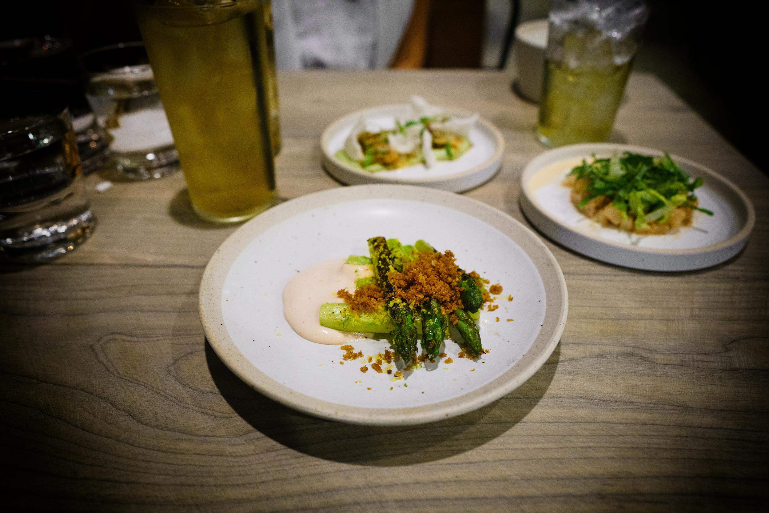 Asparagus, spicy cod roe, shallot, egg yolk