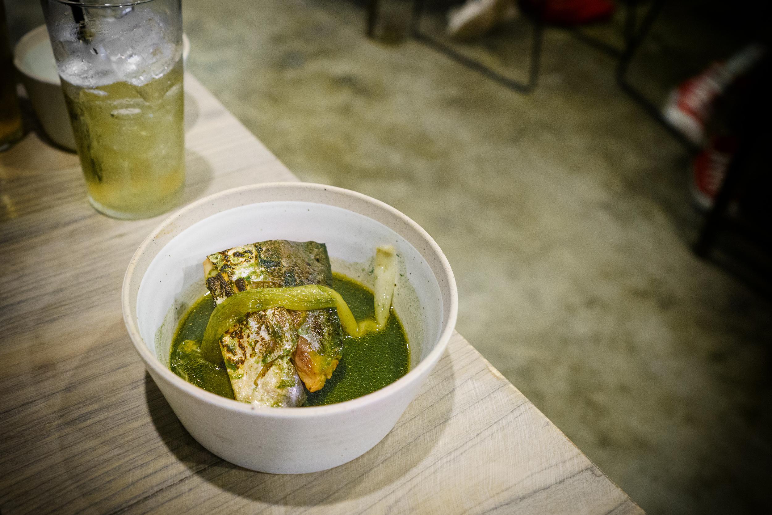 Mackerel, green chili, spinach, scallion