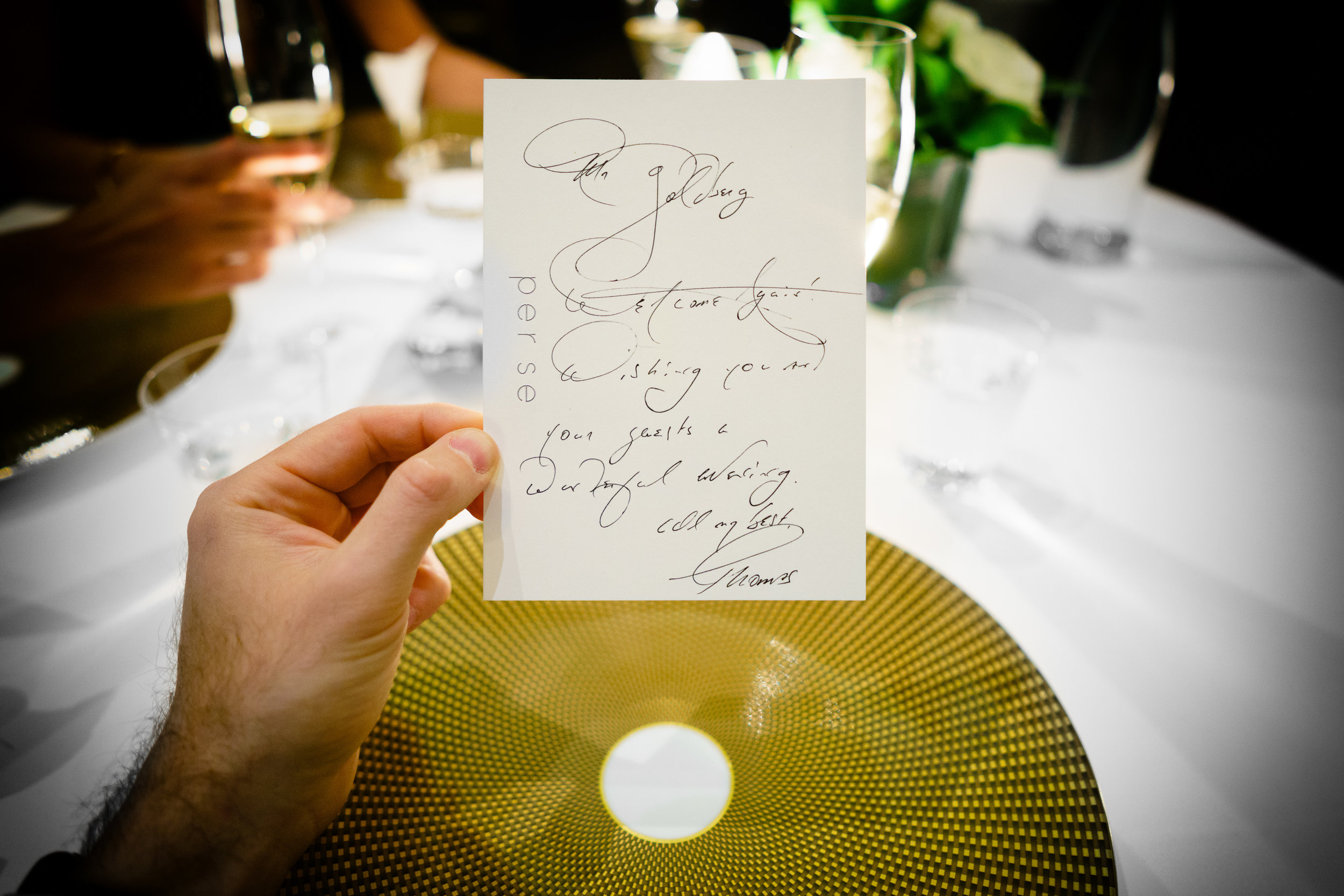 A note from Chef Thomas Keller