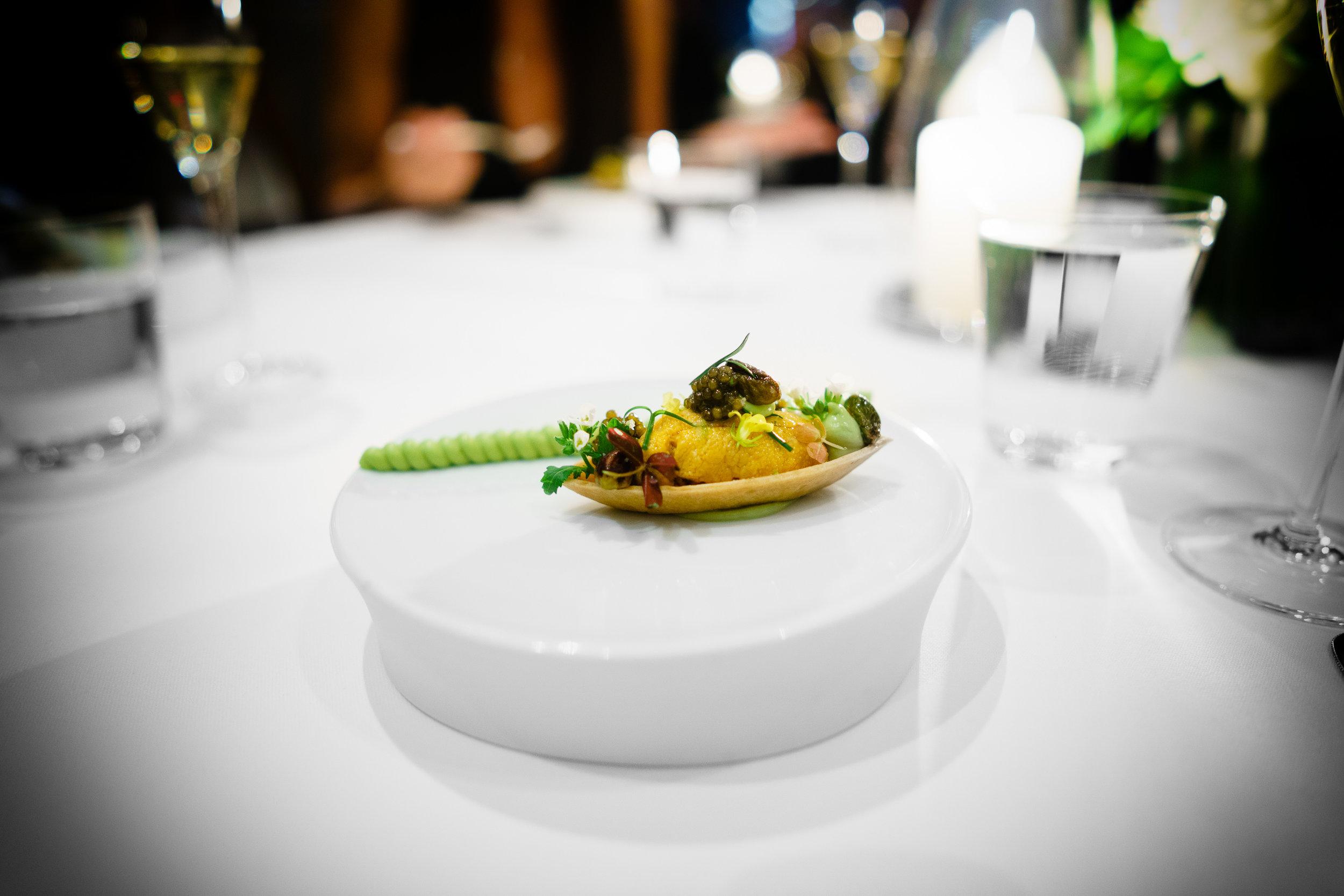"Santa Barbara Sea Urchin ""Barquette"" - Royal Kaluga Caviar and Hass Avocado Mousse"