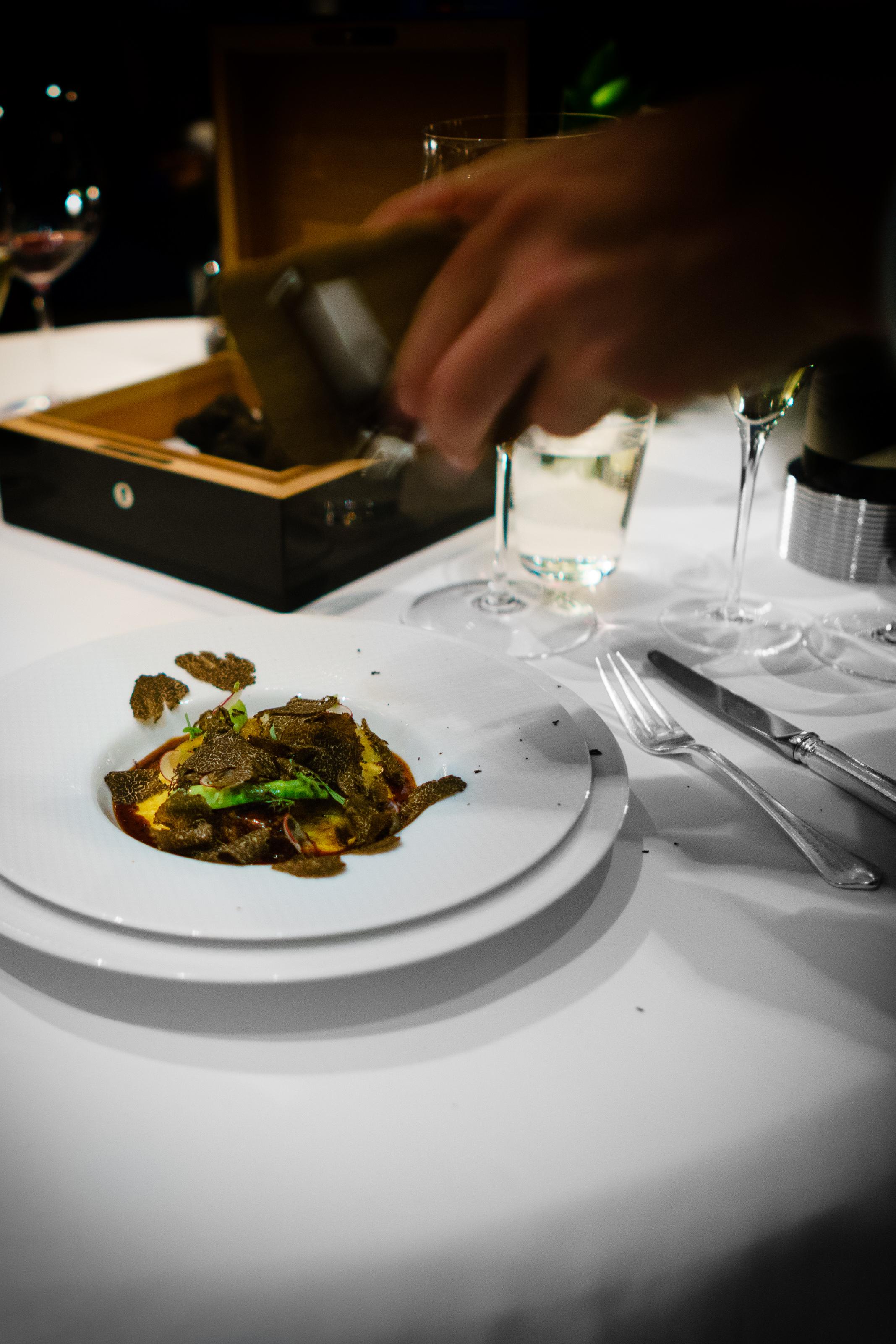 """Marcho Farms """"Ris de Veau"""" - """"Bearnaise Glaçage"""" Parmesan Wrapped Green Asparagus and Shaved Black Winter Truffles"""