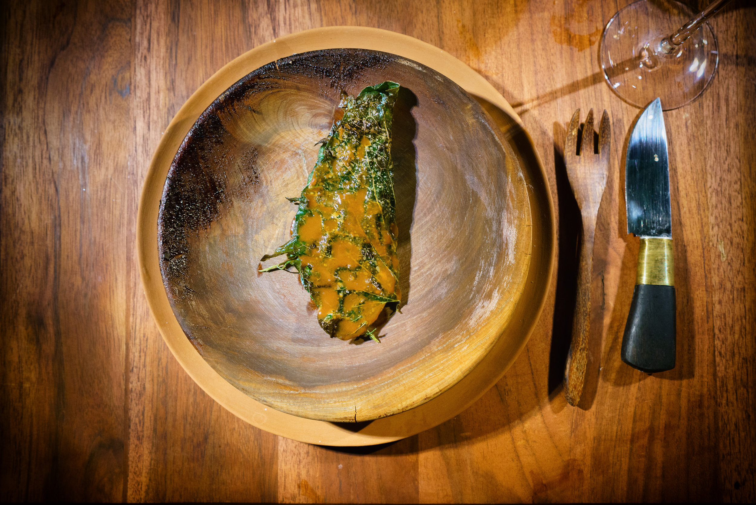 Rosio's mole with dried scallops and grilled hoja santa