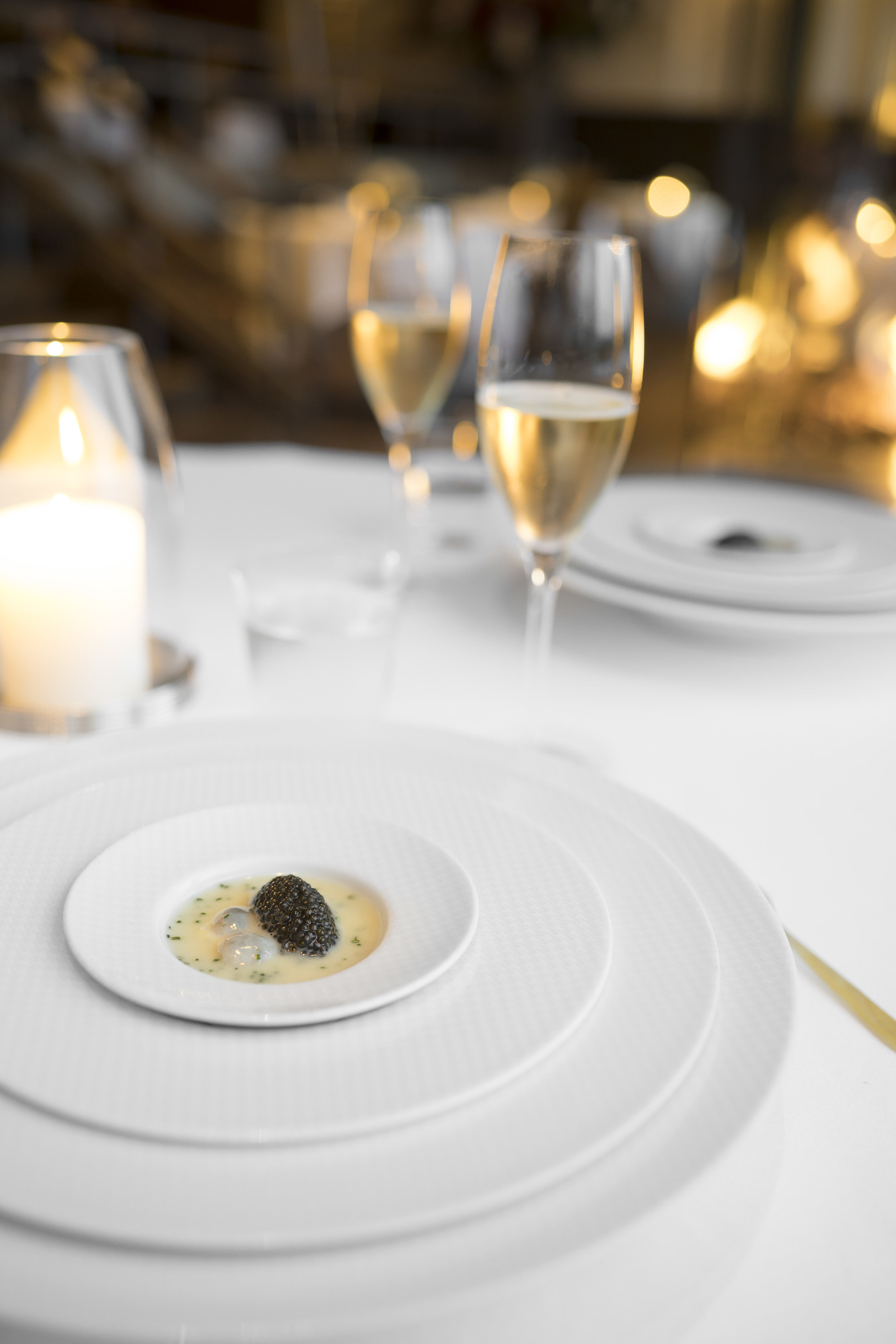 """Oysters and Pearls. """"Sabayon"""" of Pearl Tapioca with Island Creek Oysters and Regiis Ova Caviar."""