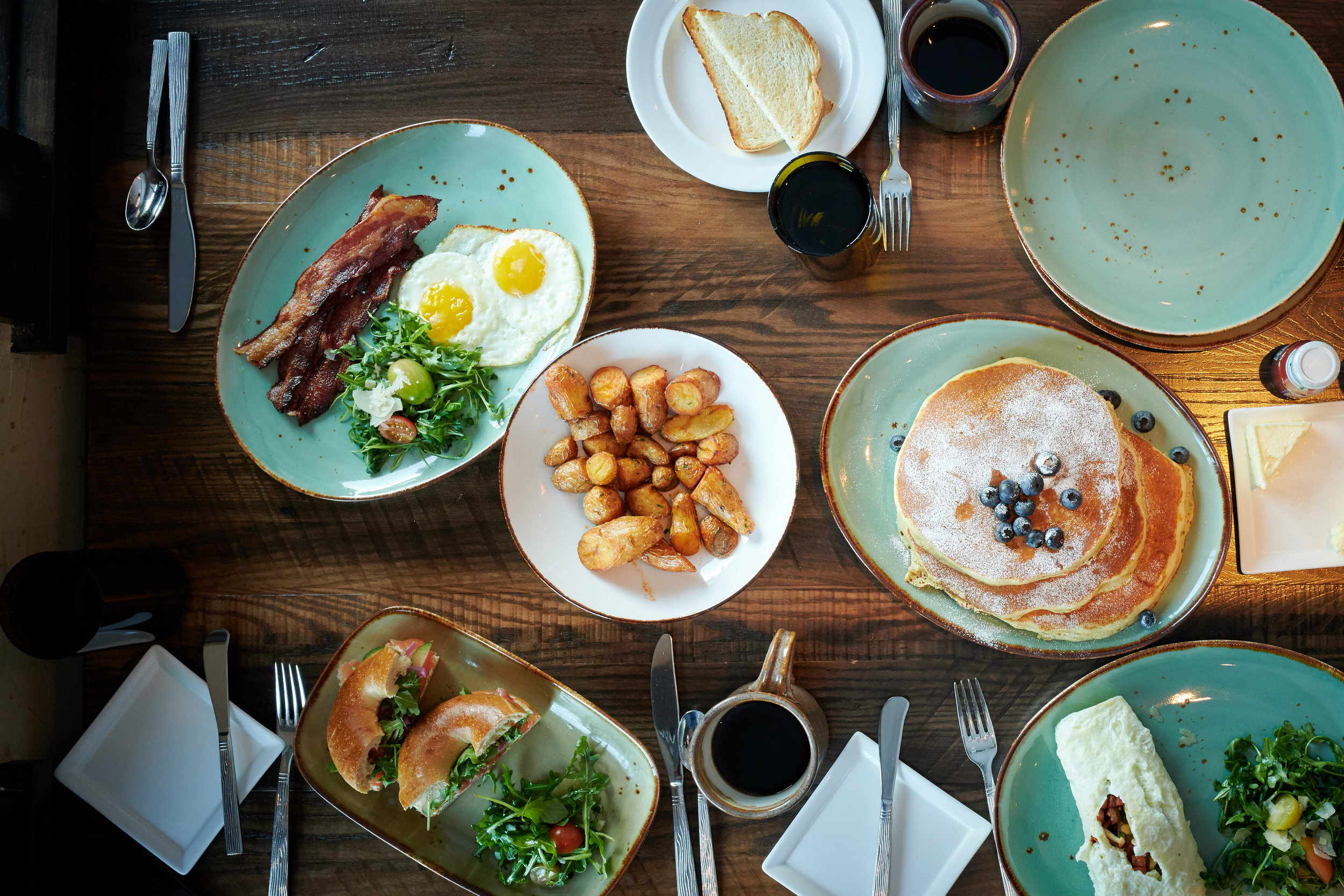 Blueberry Pancakes, Fried Eggs, Fried Potatoes, and Smoked Salmon at the Waldorf Astoria, Park City