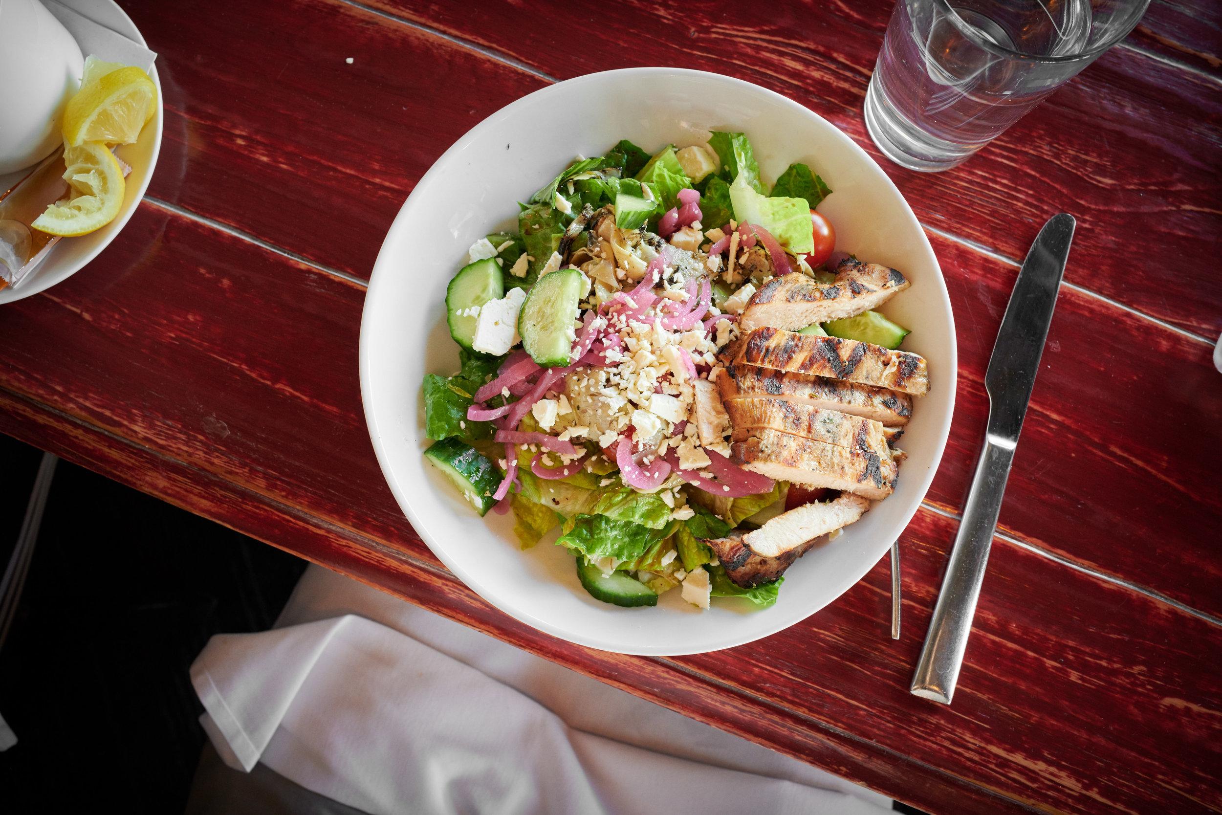 Greek Chop Salad, Chopped Romaine, Grilled Artichoke, Tomato, Pickled Onions, Cucumber, Feta Cheese, Balsamic Vinaigrette
