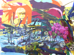 "Harbor, 22""x30"", cut paper, paint and ink on paper, 2012"
