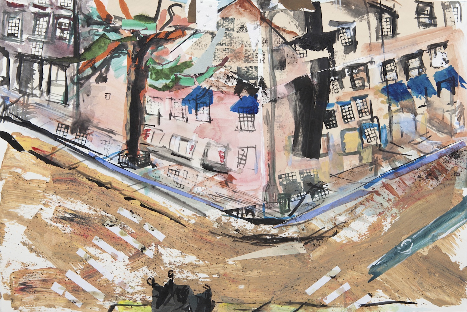 "I Like the West Village 15""x22"" cut paper, acrylic, watercolor and ink on paper"