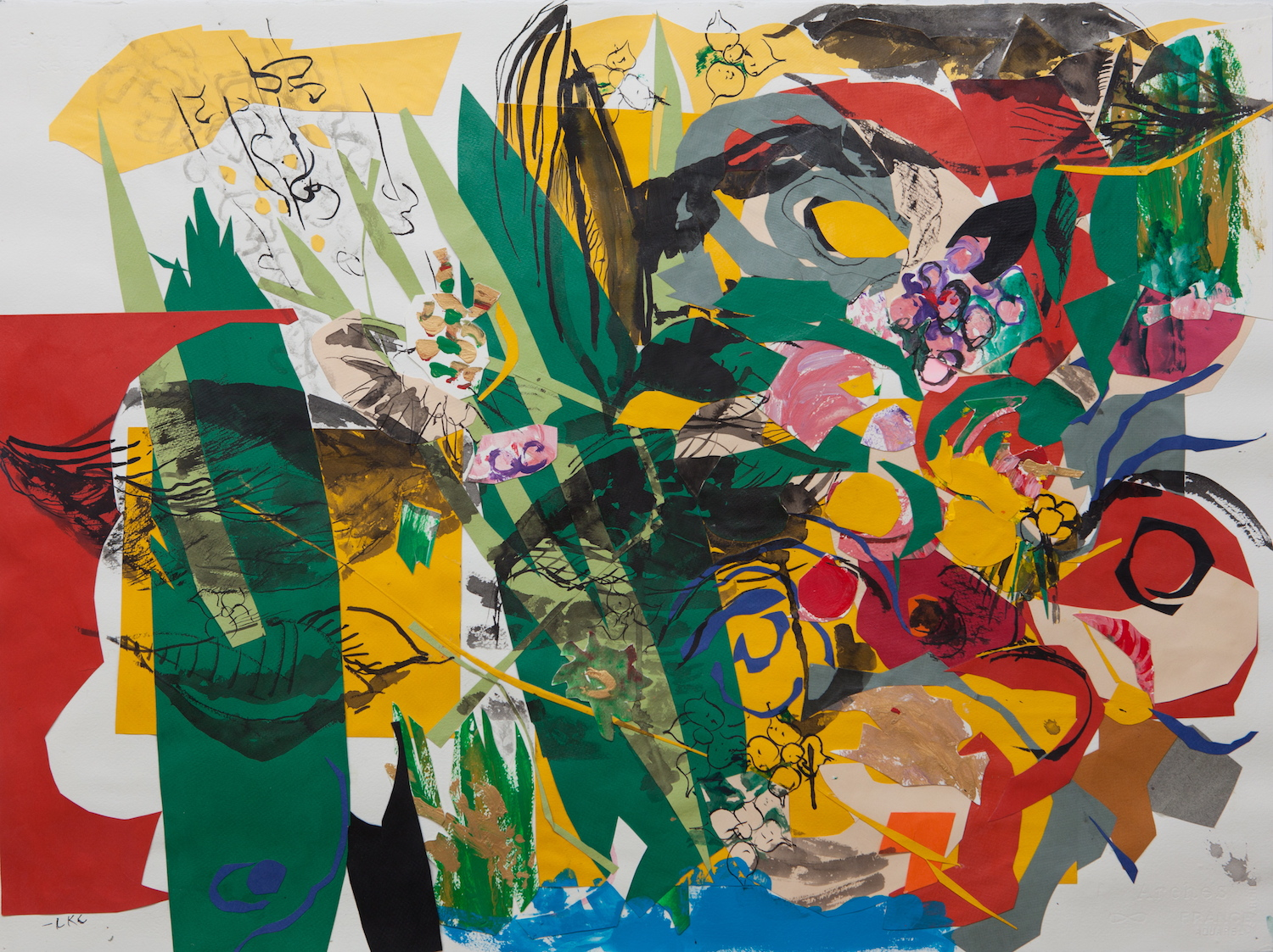 "Green Leaves 22""x30"" cut paper, acrylic and ink on paper"