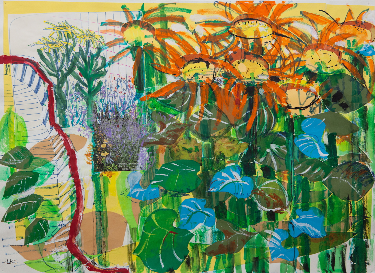 "East River Sunflowers 22""x30"" cut paper, acrylic and marker on paper"